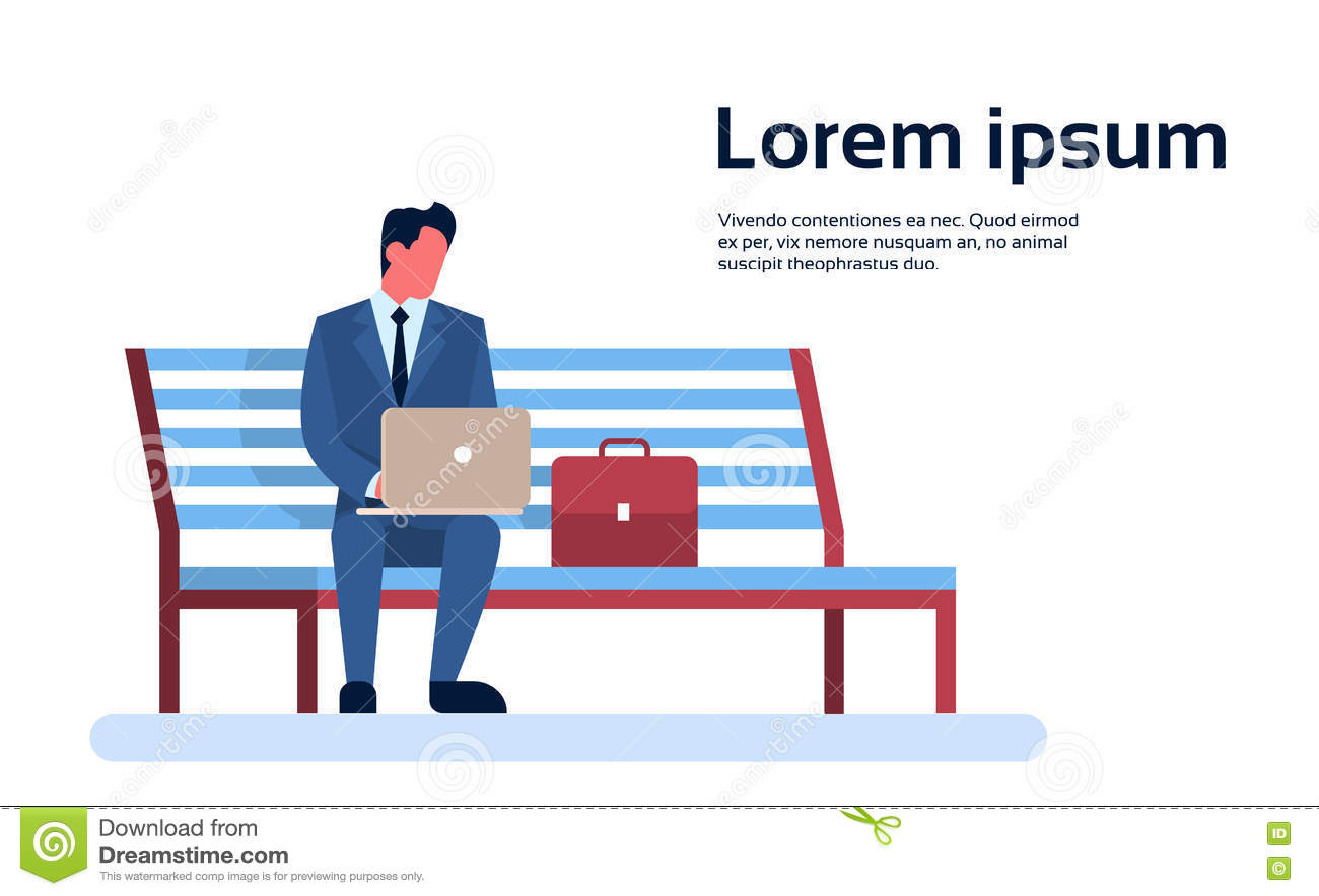 Geschäftsmann-Sit On Park Bench Use-Laptop-Computer