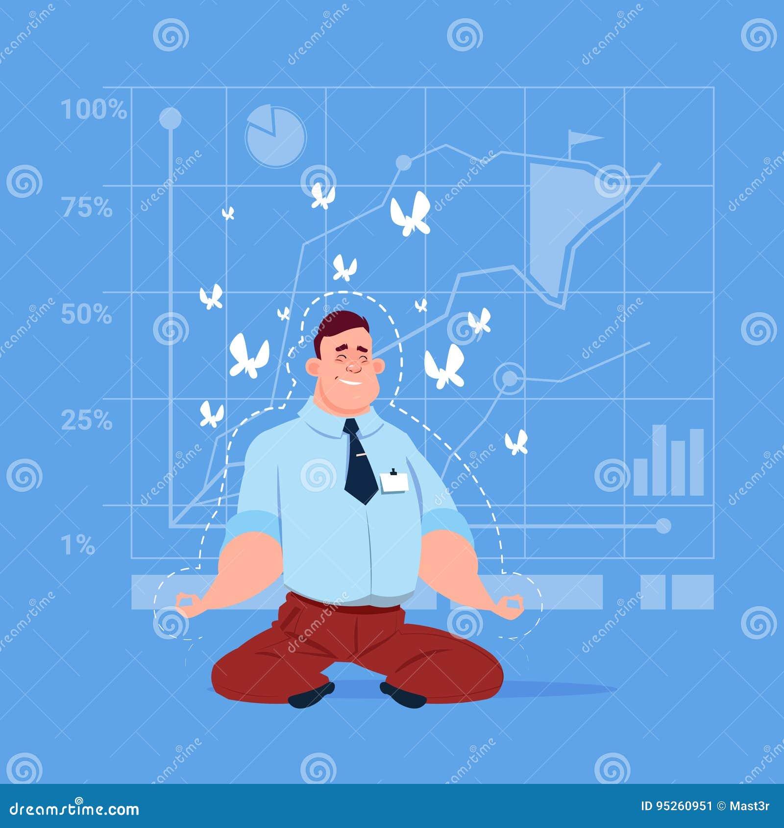 Geschäftsmann-Sit Yoga Lotus Pose Relaxing-Meditations-Konzept