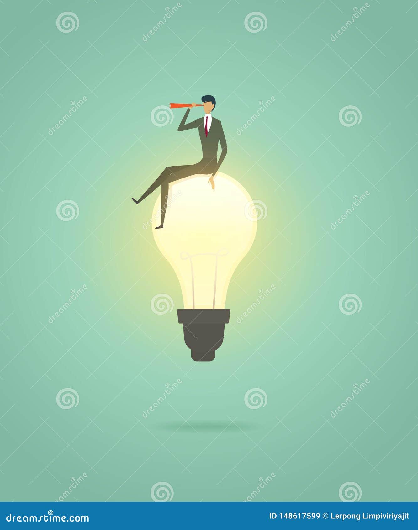Geschäftsmann sitzen auf kreativer Konzeptlösung der Glühlampe und mit Teleskop, Vision, Ehrgeiz succes zu sehen