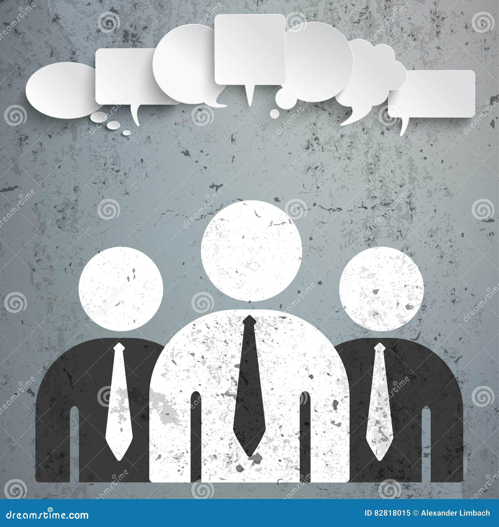 3 Geschäftsmann-Sprache-Blasen konkret