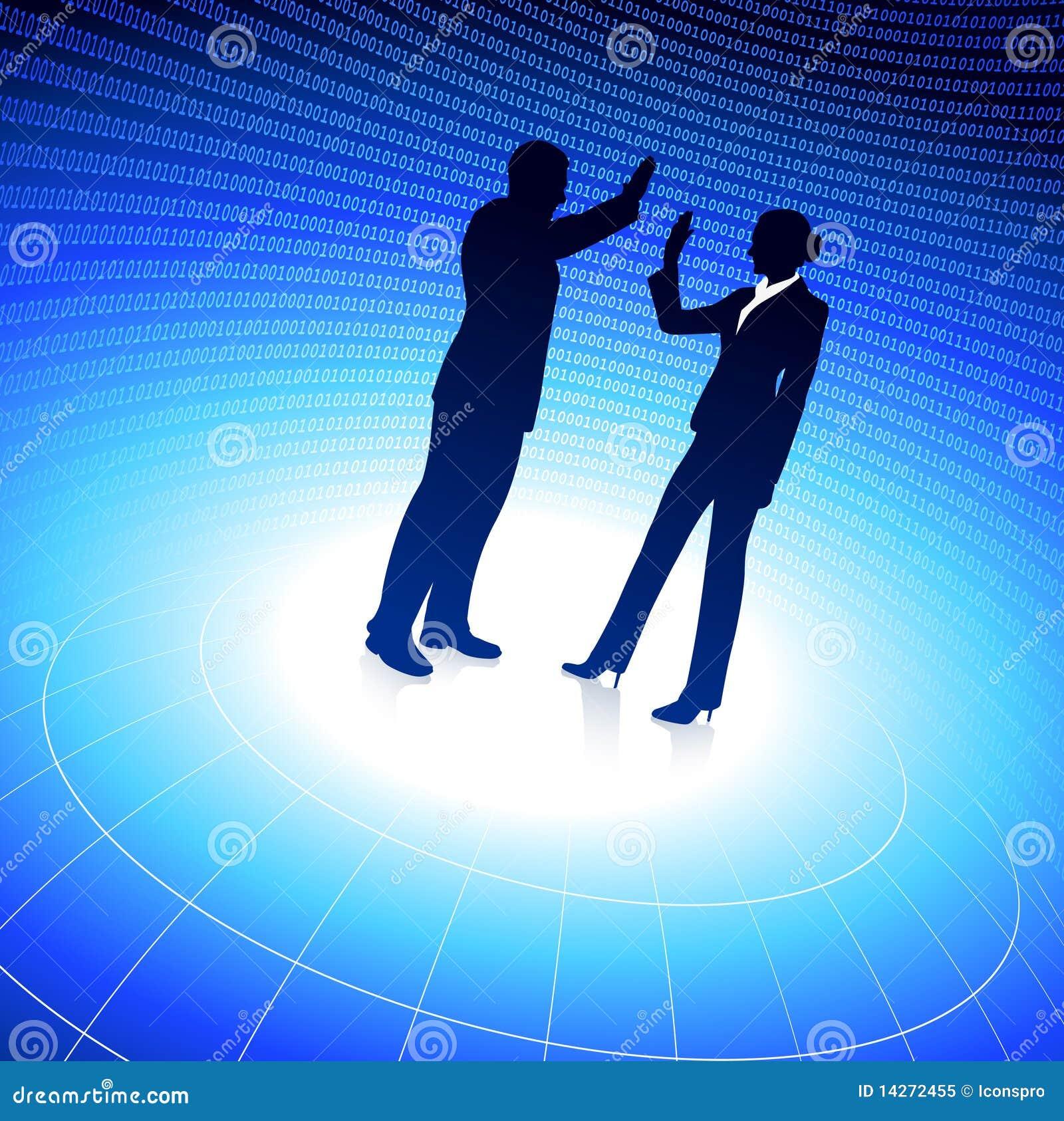 Geschäftsmann und Geschäftsfrau auf blauem Hintergrund