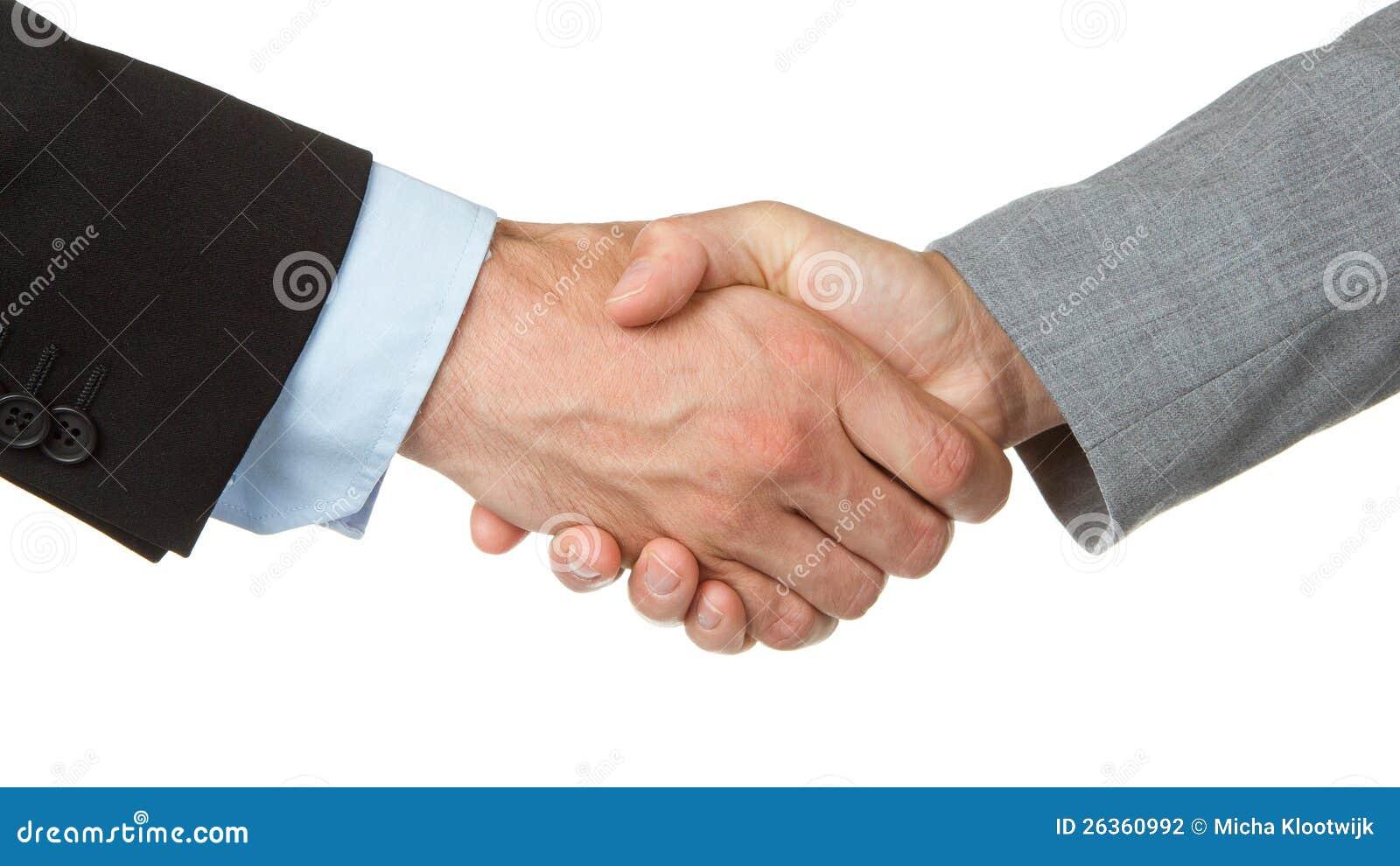 Geschäftsmann und Geschäftsfrau, die Hände rütteln