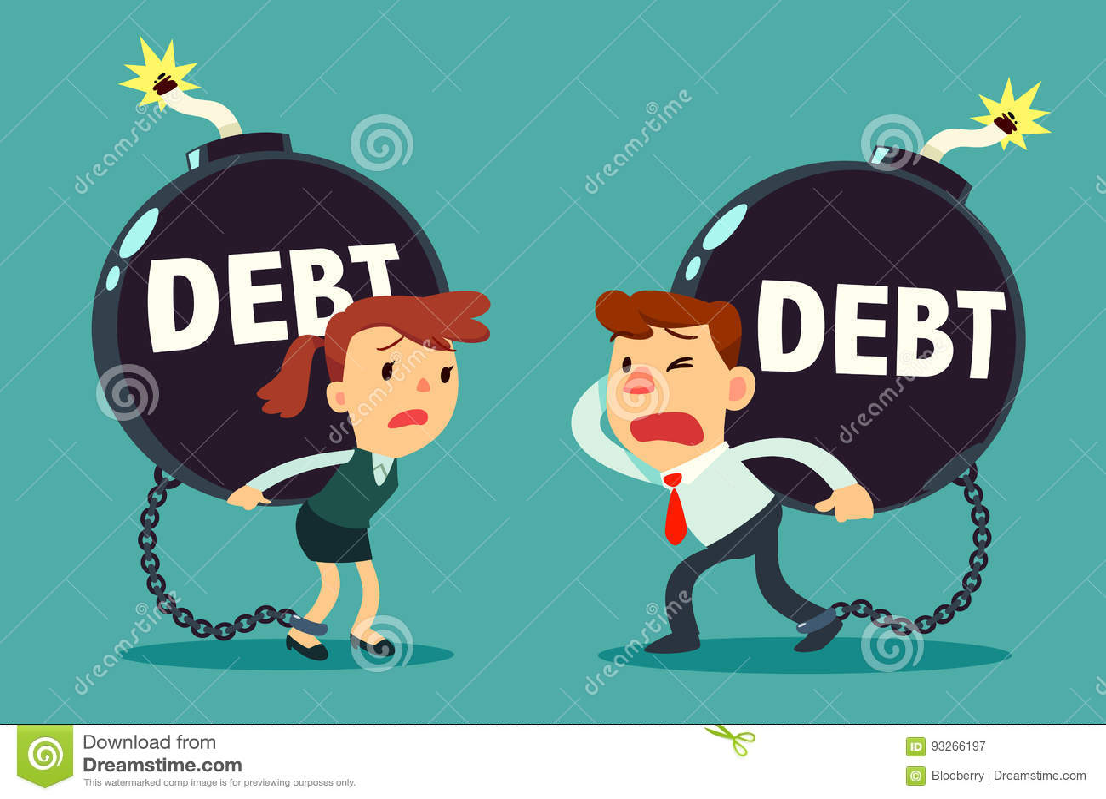 Geschäftsmann und Geschäftsfrau tragen SchuldZeitbombe