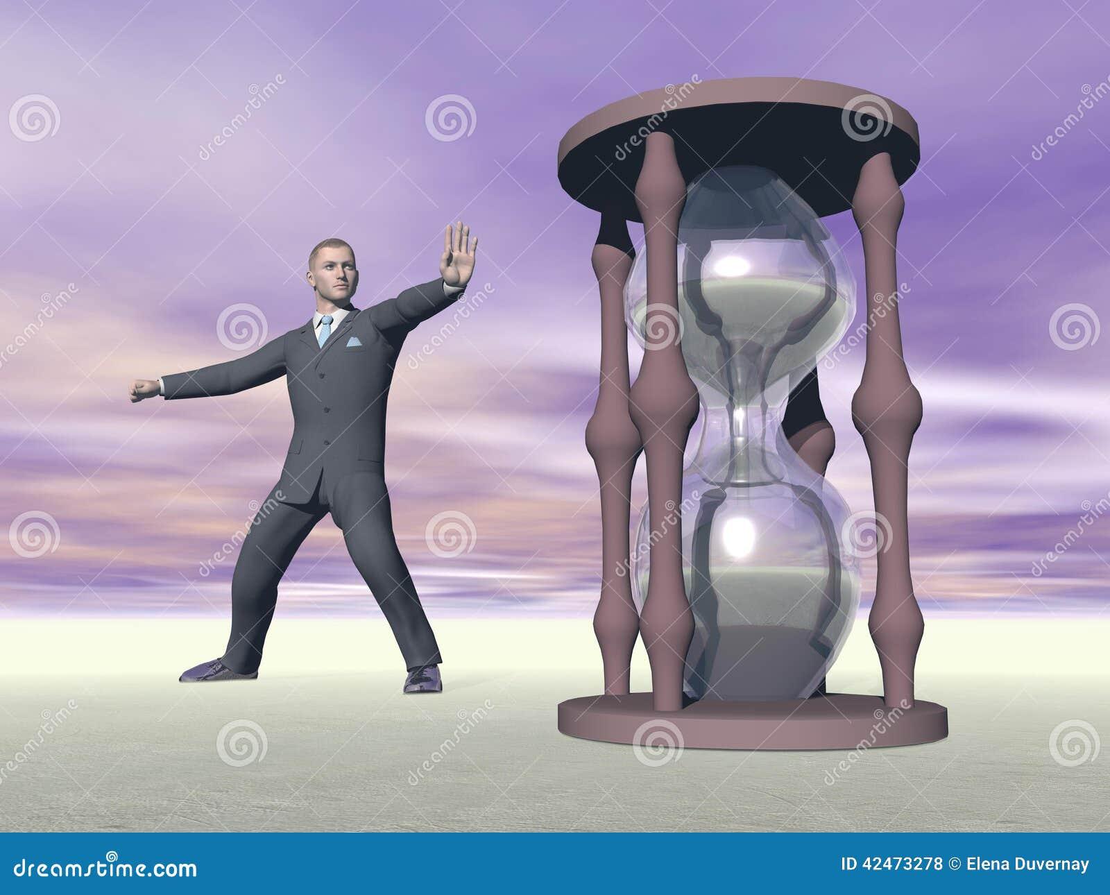 Geschäftsmann und Sanduhr - 3D übertragen