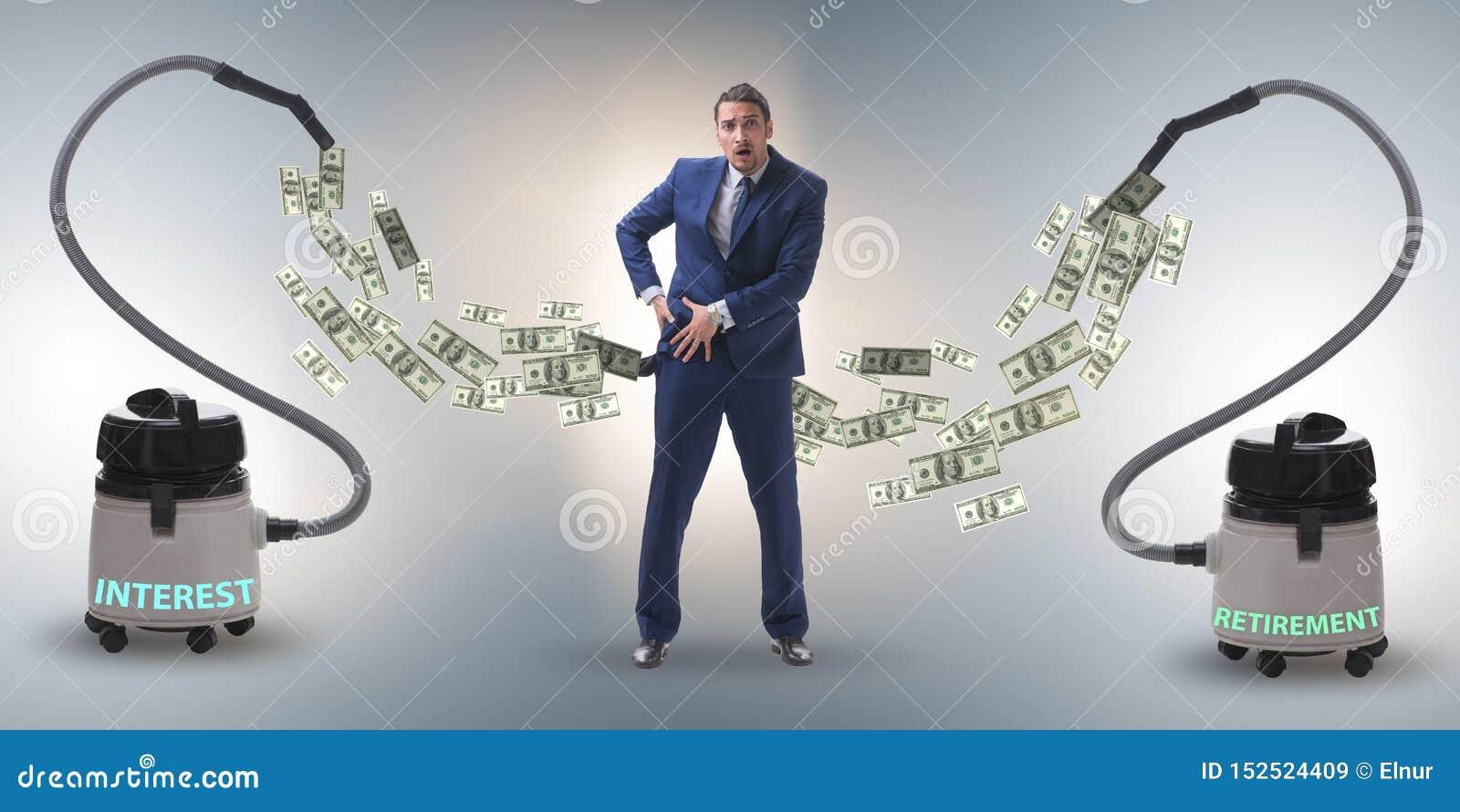 Geschäftsmann und Staubsauger, der Geld aus ihm heraus saugt