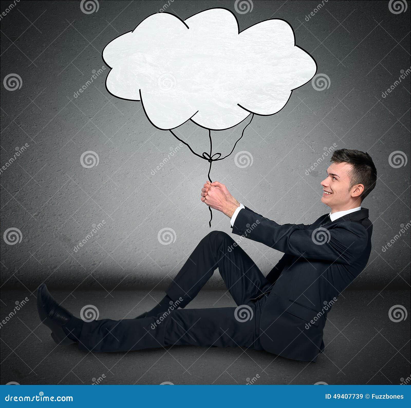 Download Geschäftsmann und Wolke stockbild. Bild von traum, kommunikation - 49407739