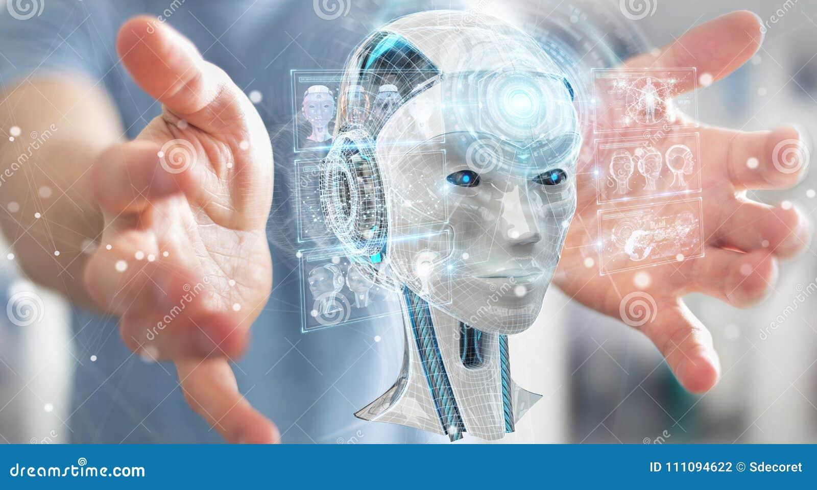 Geschäftsmann unter Verwendung der digitalen Schnittstelle 3D r der künstlichen Intelligenz