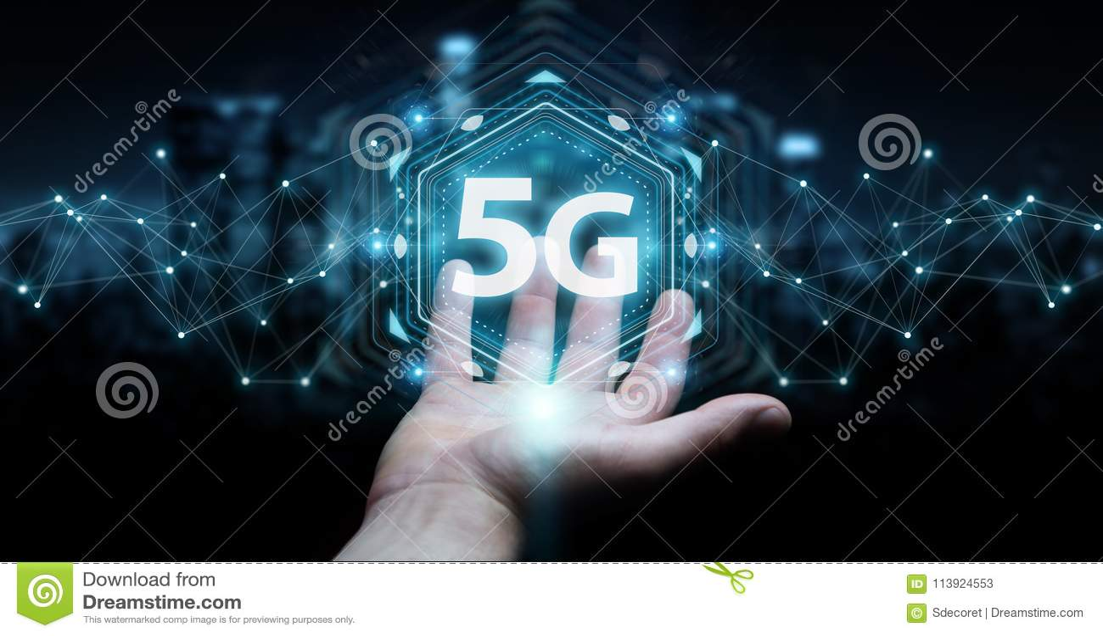 Geschäftsmann unter Verwendung 5G der Wiedergabe der Netzwerkschnittstelle 3D