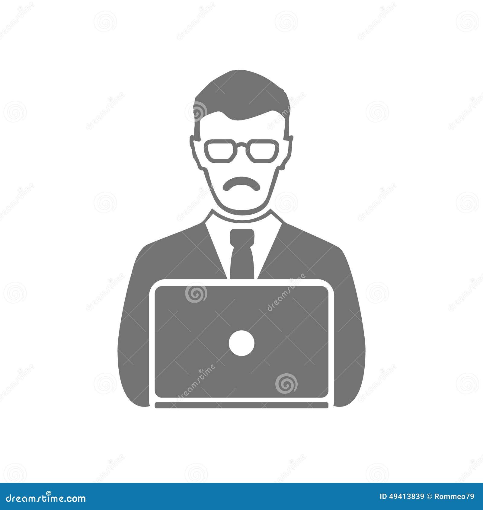 Download Geschäftsmann-Vektorikonensymbol, Büro, Kommunikation Vektor Abbildung - Illustration von frontseite, geschäft: 49413839