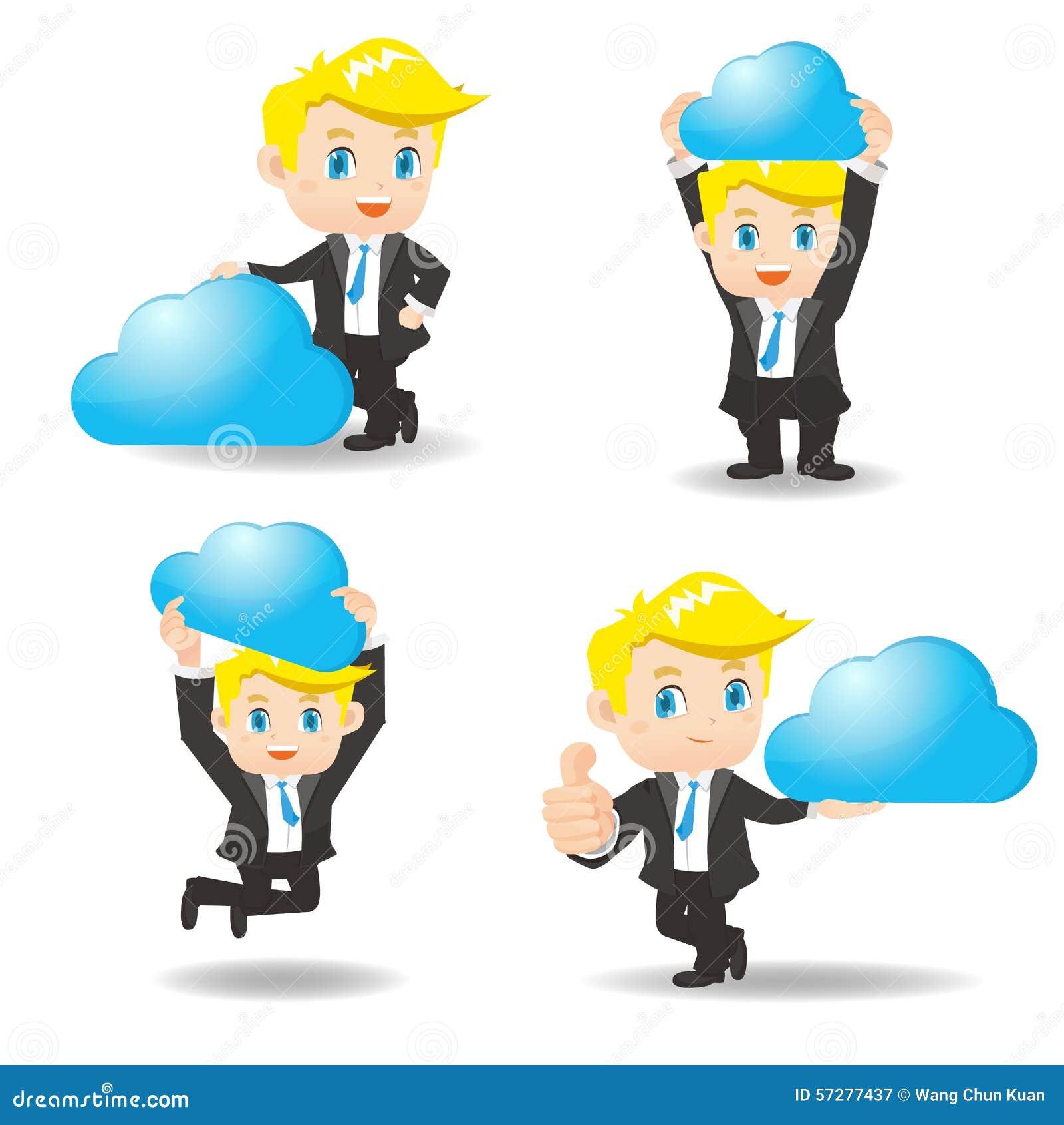 Geschäftsmann zeigt Komputertechnologie der Wolke