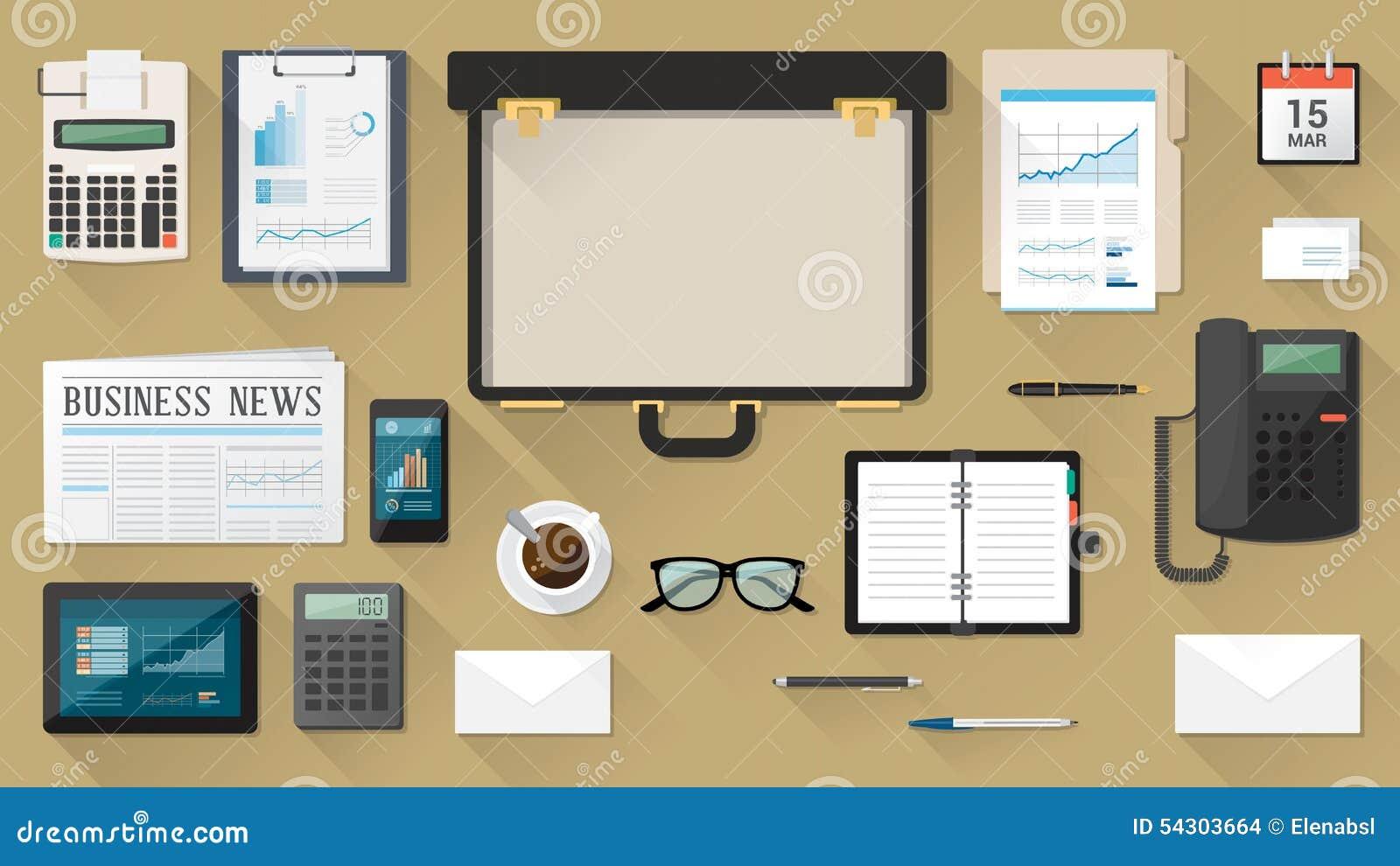 Geschäftsmanndesktop mit Aktenkoffer