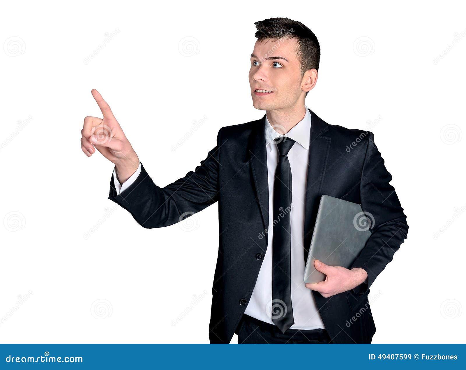 Download Geschäftsmanndrücken stockbild. Bild von punkt, klicken - 49407599