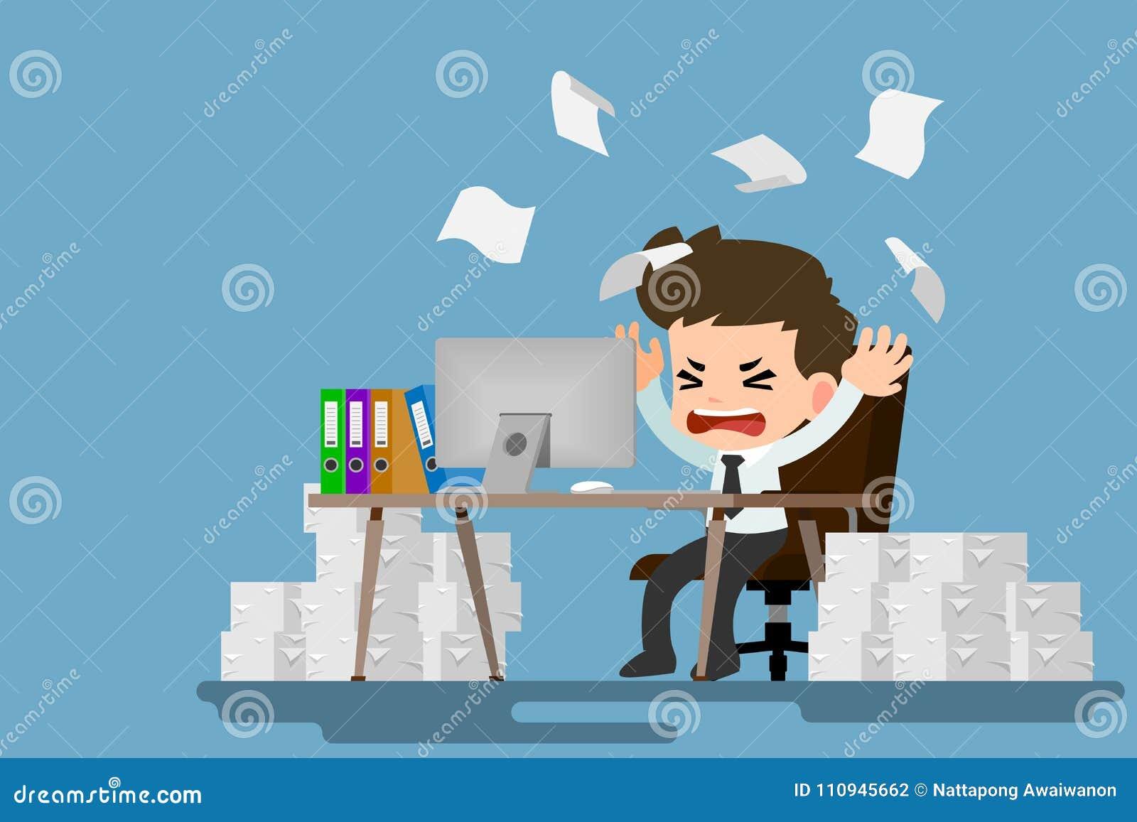 Geschaftsmanndruck Am Schreibtisch Durch Viel Arbeit