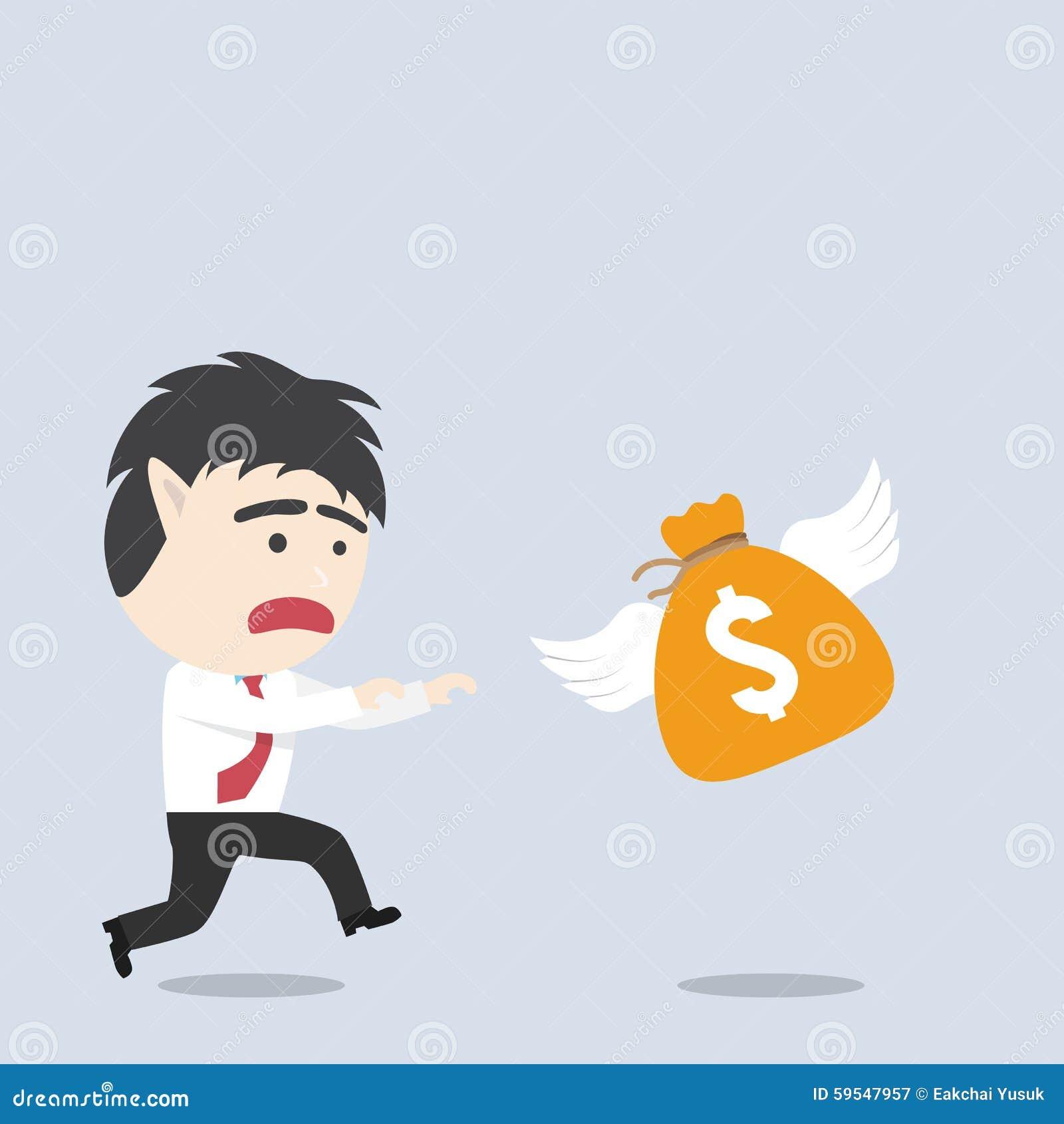 Geschäftsmannfang eine Geldtasche