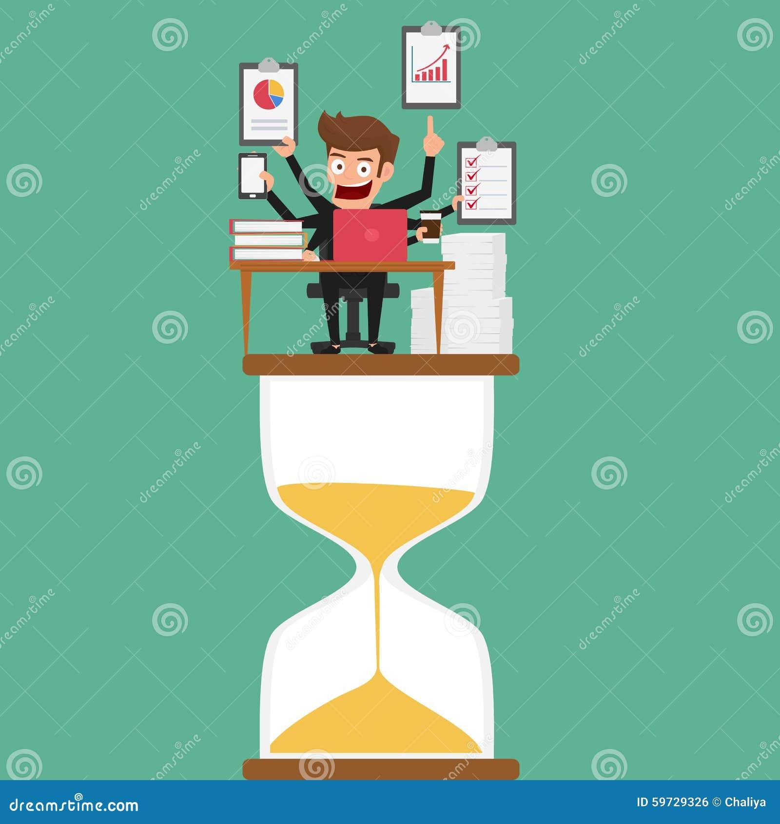 Geschäftsmannmultitasking arbeitet an Sanduhr mit mehr Armen Management und Multitasking
