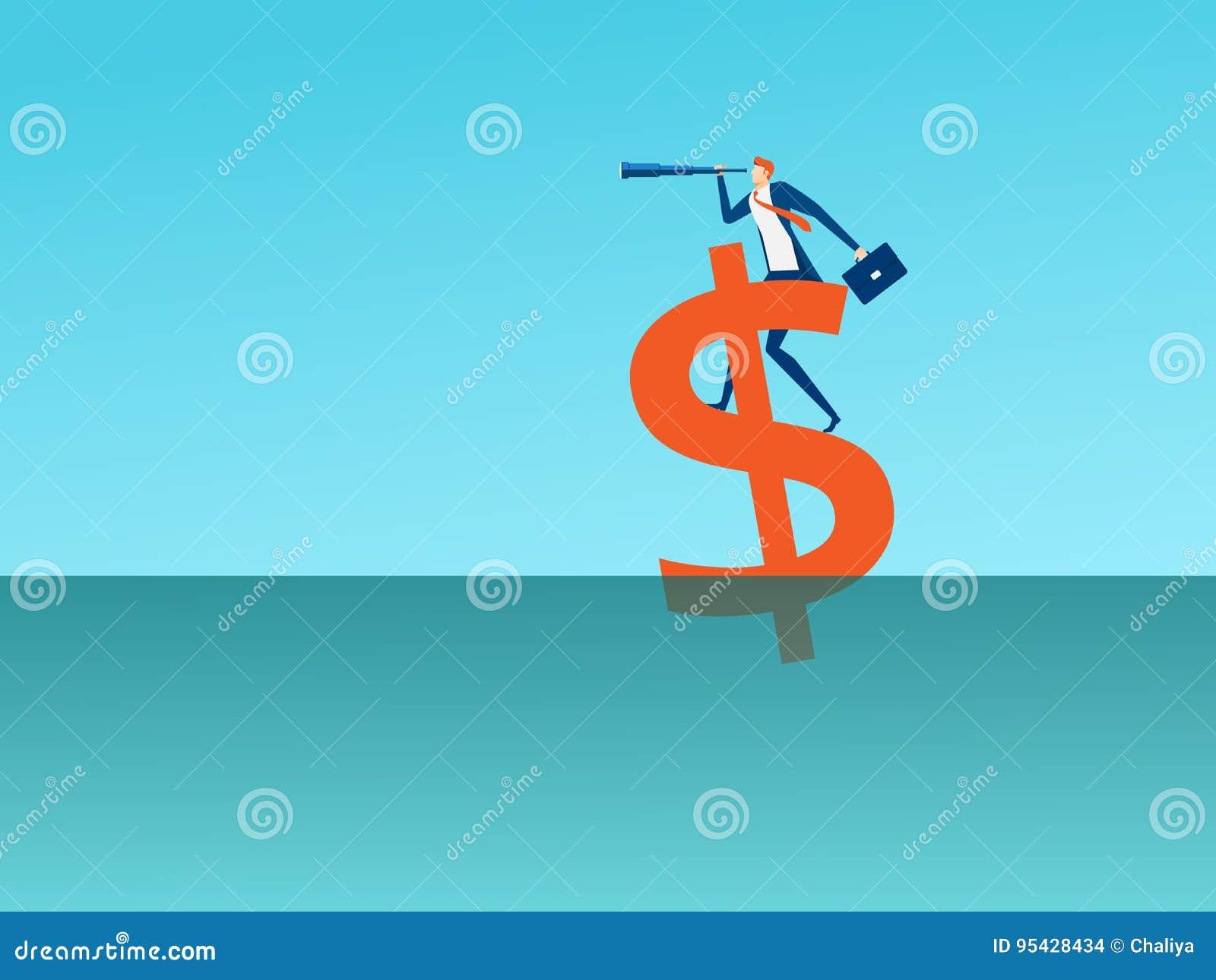 Geschäftsmannstand auf Geldzeichen unter Verwendung des Teleskops, das nach Erfolg, Gelegenheiten, zukünftiges Geschäft sucht, ne