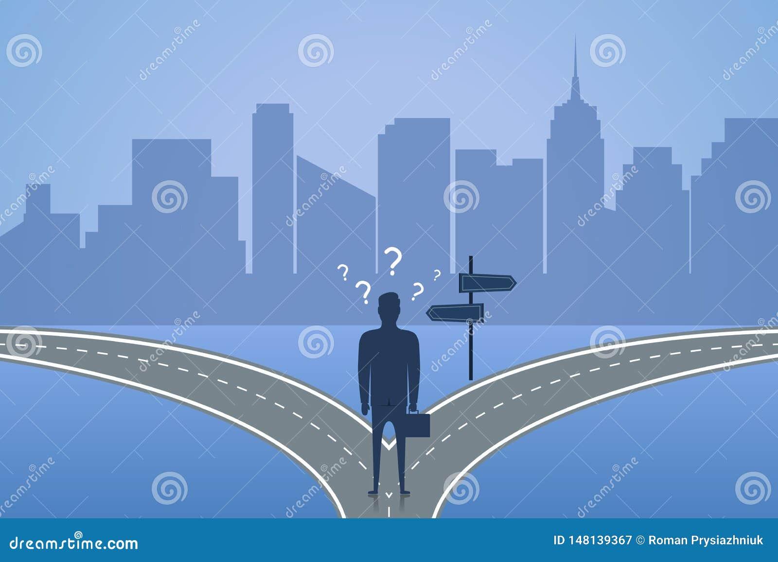 Geschäftsmannstellung auf der Kreuzung und wählt Weise Konzept der Wahl die beste Lösung für Zukunft oder Geschäft Vektor