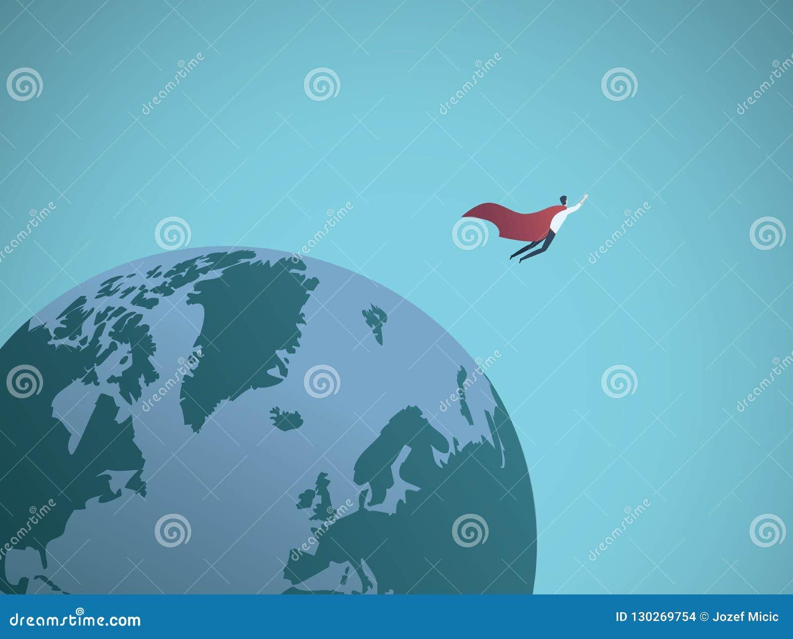 Geschäftsmannsuperheld, der auf der ganzen Welt Vektorkonzept fliegt Symbol der Macht, Führung, Erfolg