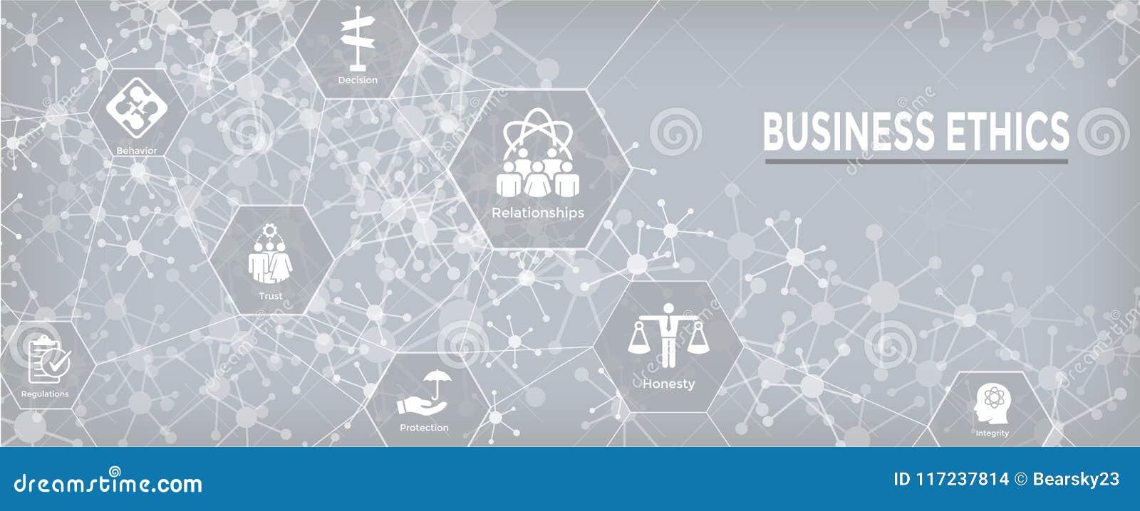 Geschäftsmoral-Netz-Fahnen-Ikone eingestellt mit Ehrlichkeit, Integrität, COM