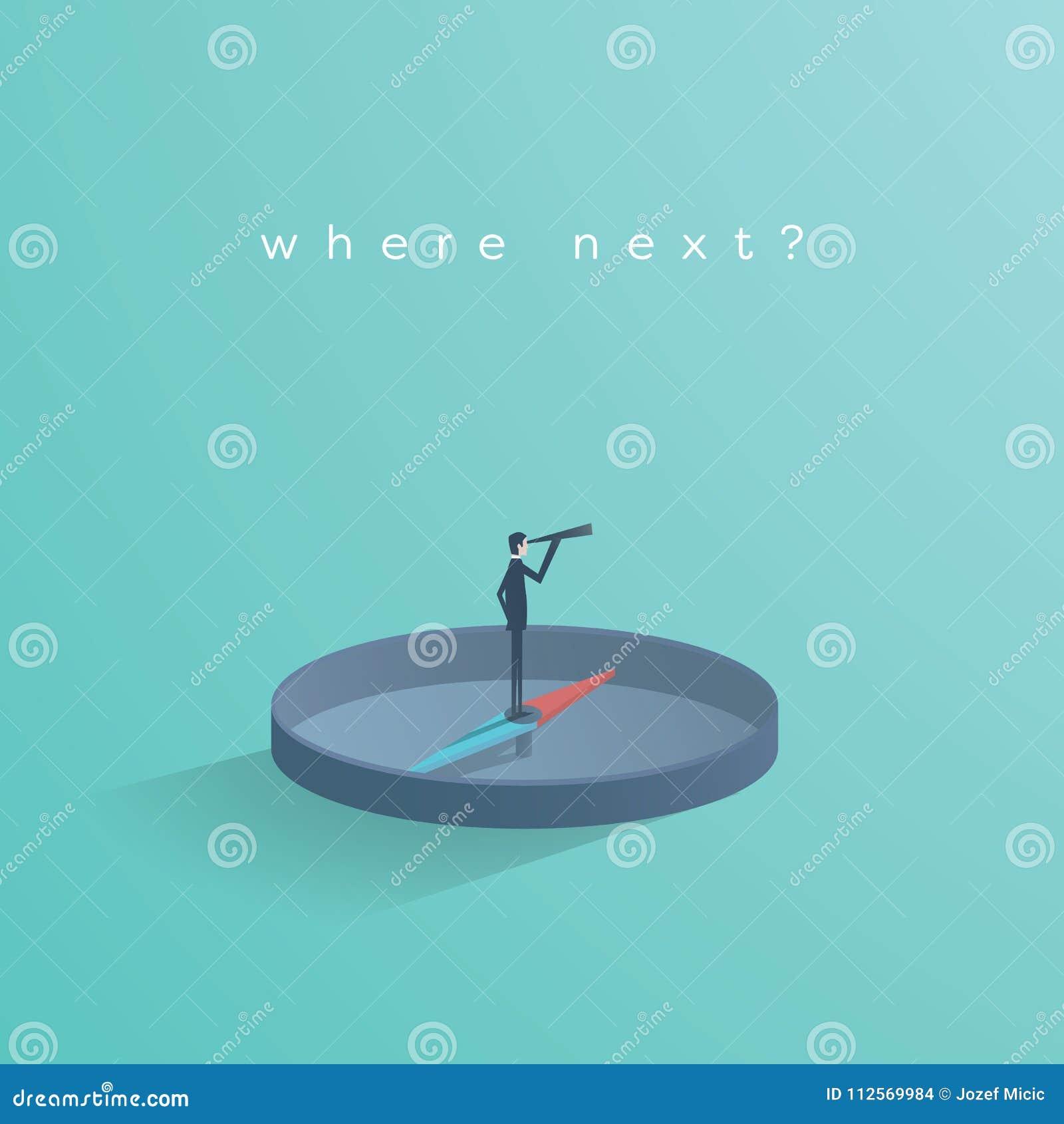 Geschäftsrichtungs-Konzeptvektor mit dem Geschäftsmann, der auf dem Kompass zeigt Richtung steht Symbol der Geschäftsstrategie