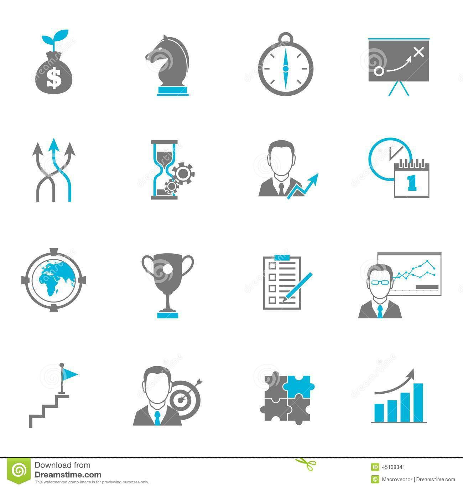 Geschäftsstrategie-Planungs-Ikonen Vektor Abbildung - Illustration ...