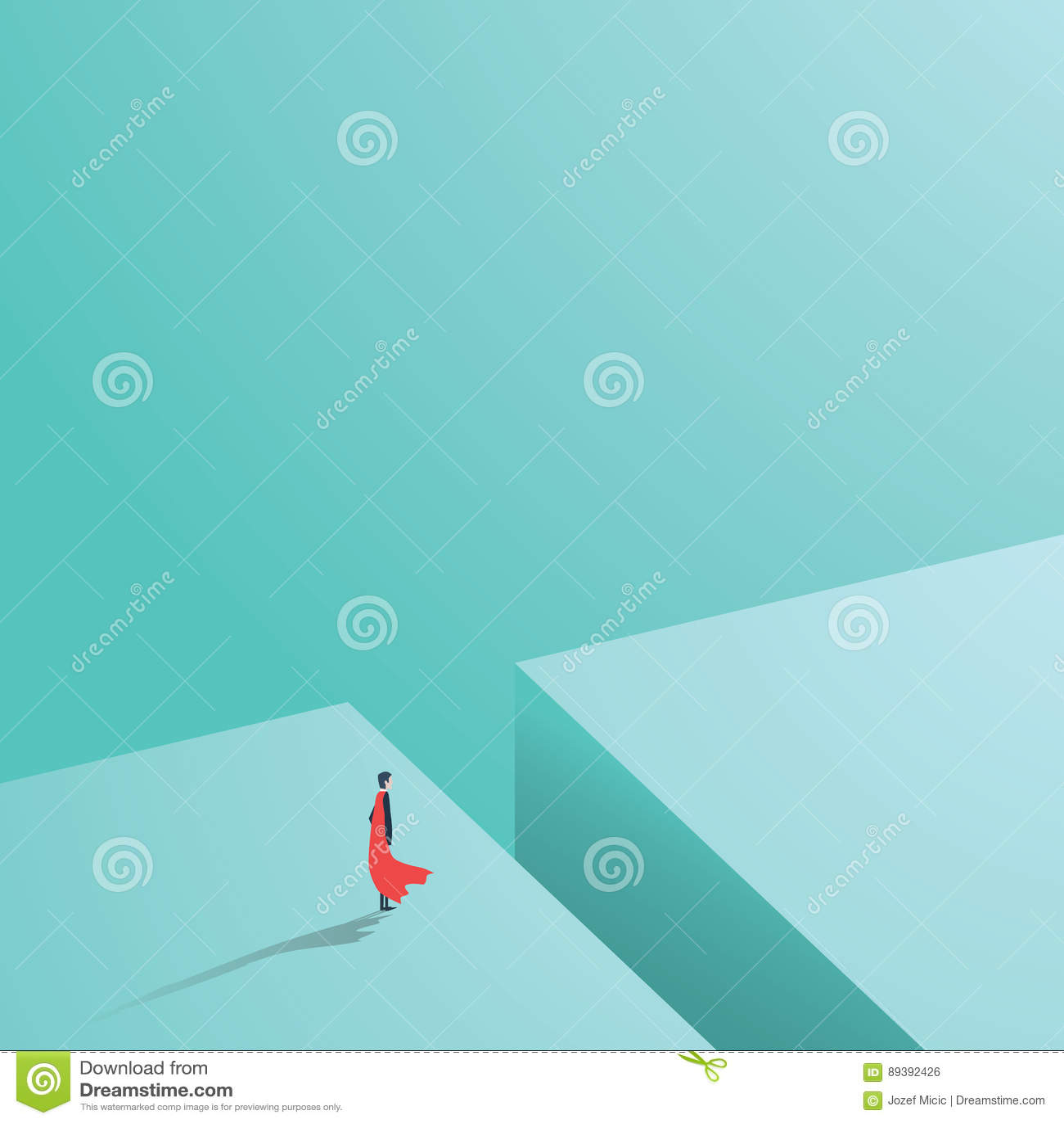 Geschäftssuperheld, der über großem Loch, Abstand, Abgrund steht Geschäftskonzept der Energie, der Stärke, des Mutes, der Tapferk