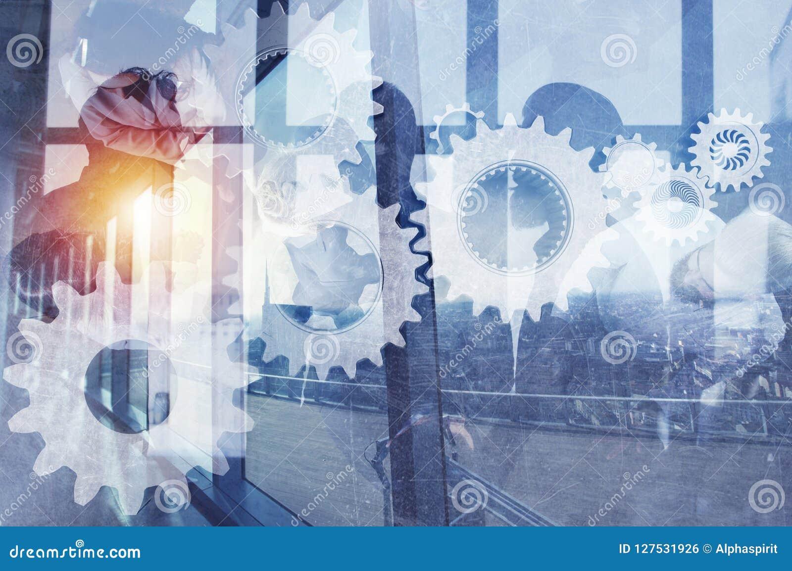 Geschäftsteam mit Gangsystem Teamwork, Partnerschaft und Integrationskonzept Doppelte Berührung