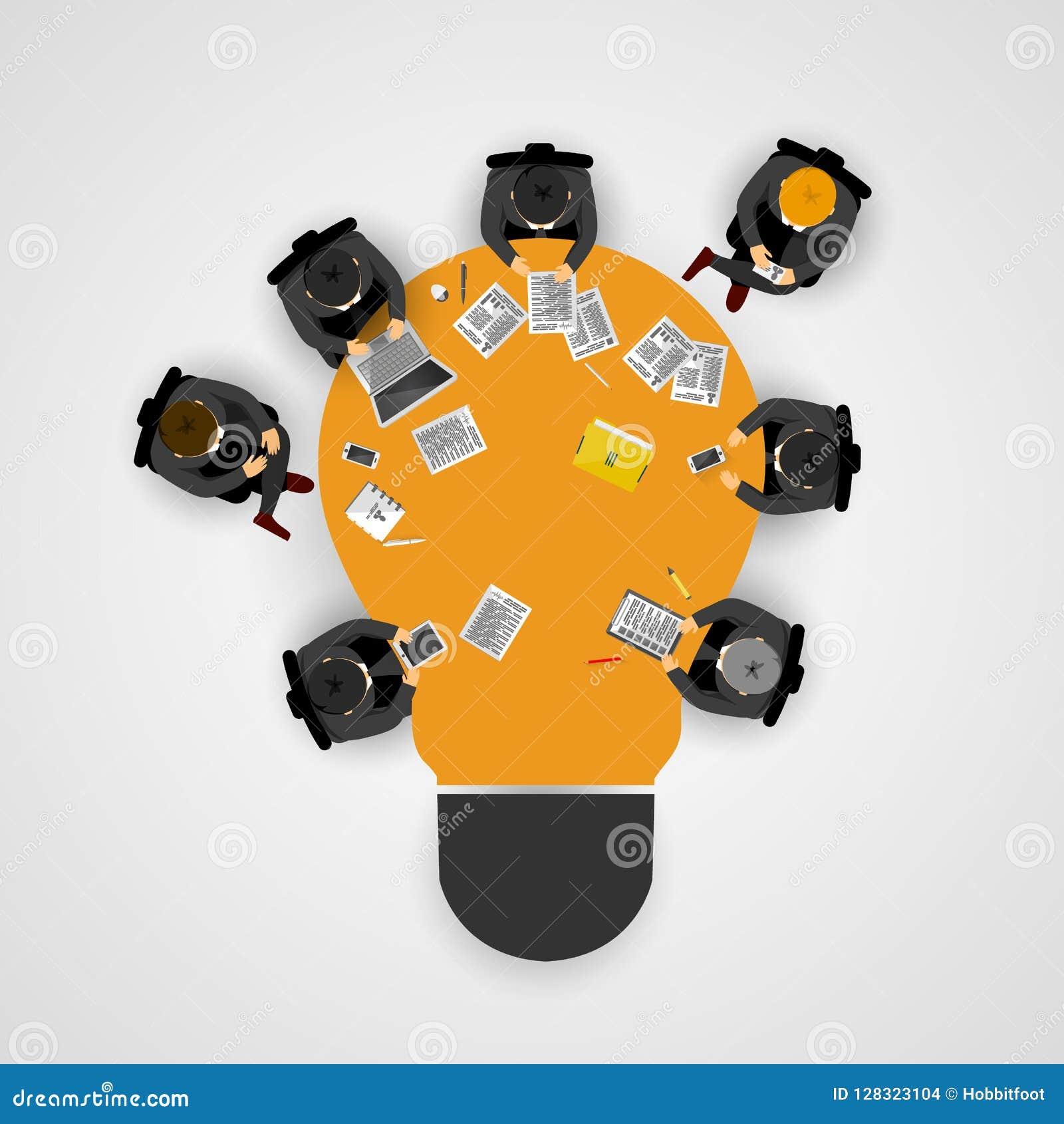 Geschäftstreffen und Brainstorming Idee und Geschäftskonzept für Teamwork Infographic-Schablone mit Leuten, Team und Glühlampe