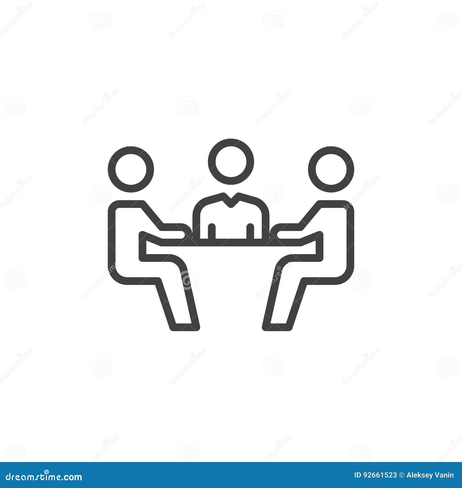 Geschäftstreffenlinie Ikone, Entwurfsvektorzeichen, lineares Artpiktogramm lokalisiert auf Weiß Symbol, Logoillustration Editable