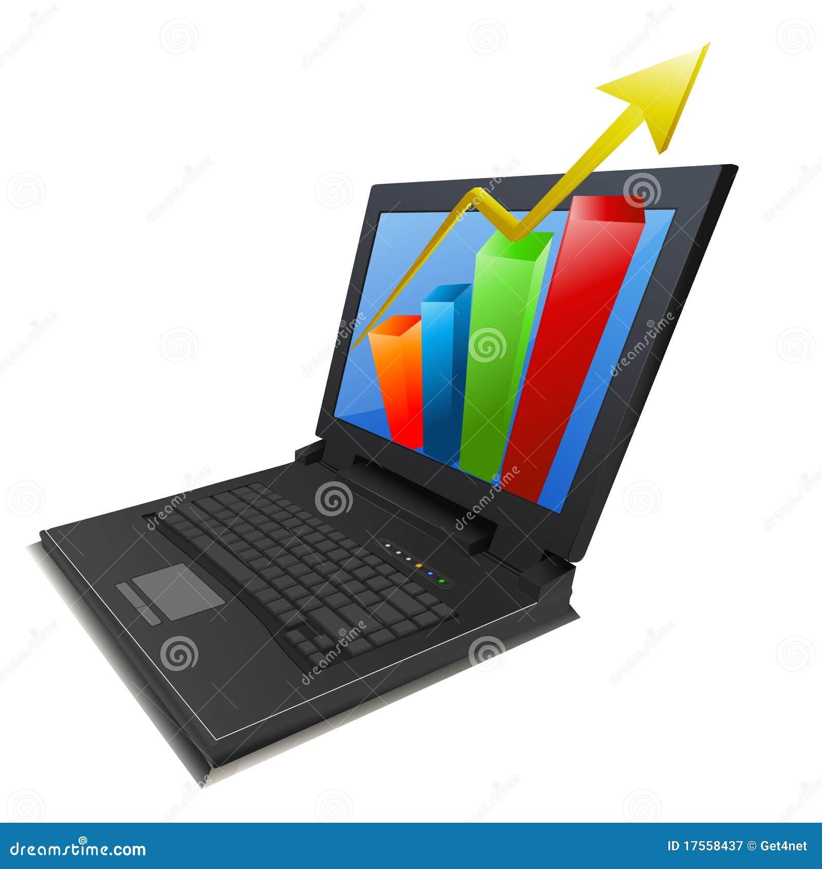 Geschäftswachstumdiagramm im Laptop