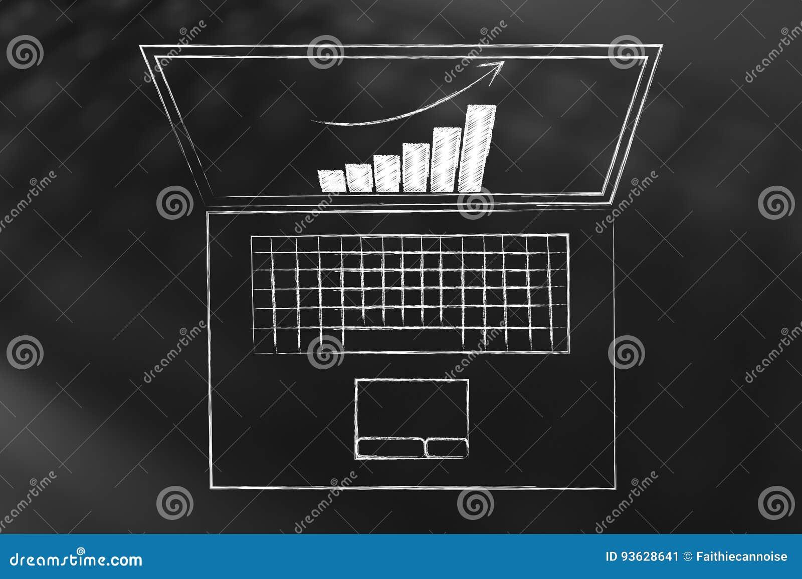 Geschäftswachstumsdiagramm auf Laptopschirm