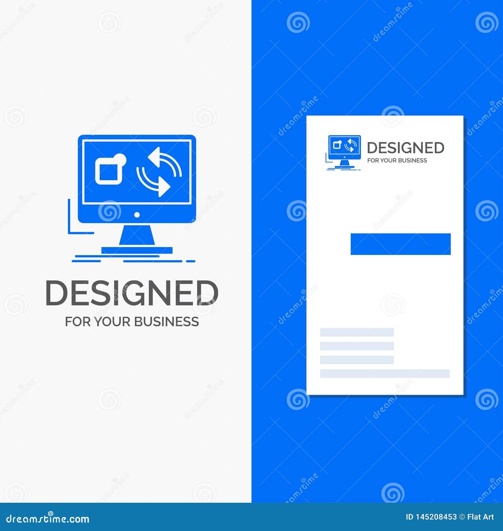 Gesch?fts-Logo f?r Aktualisierung, App, Anwendung, installieren, Synchronisierung Vertikale blaue Gesch?fts-/Visitenkarteschablon