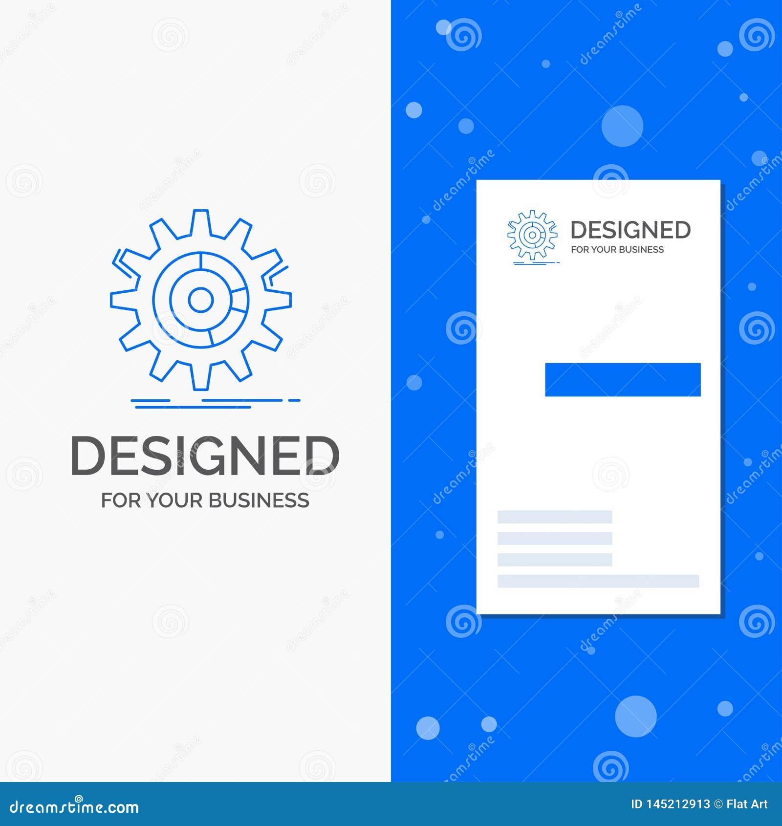 Gesch?fts-Logo f?r die Einstellung, Daten, Management, Prozess, Fortschritt Vertikale blaue Gesch?fts-/Visitenkarteschablone