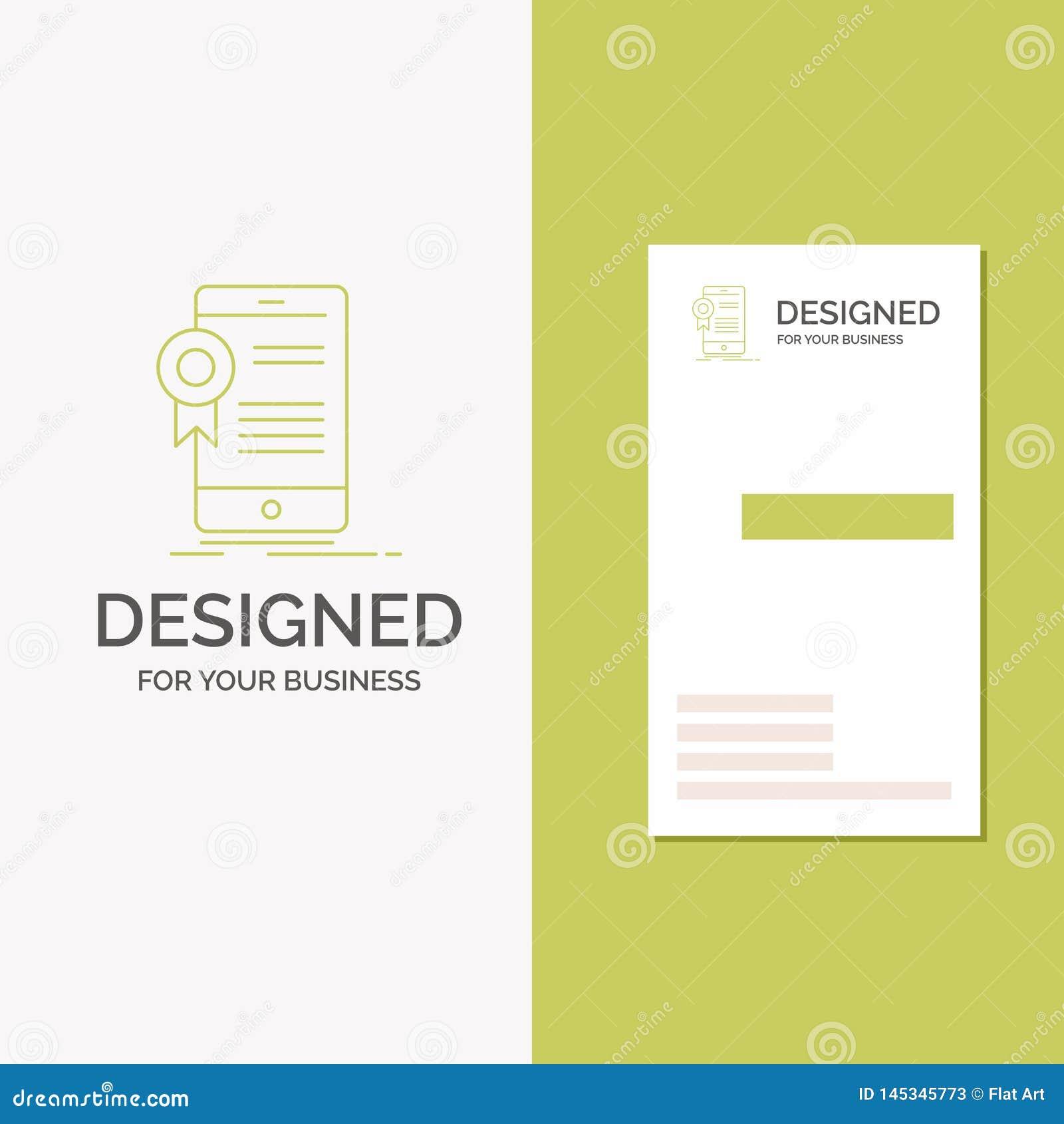 Gesch?fts-Logo f?r Zertifikat, Bescheinigung, App, Anwendung, Zustimmung Vertikale gr?ne Gesch?fts-/Visitenkarteschablone