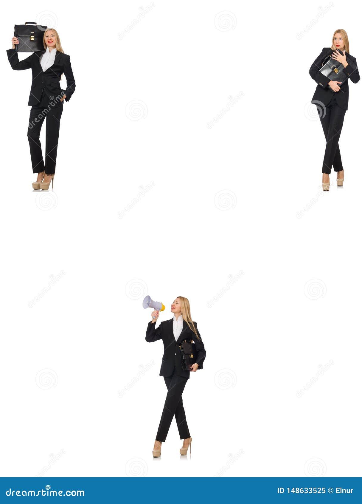 Gesch?ftsfrau mit Megaphon und Aktenkoffer