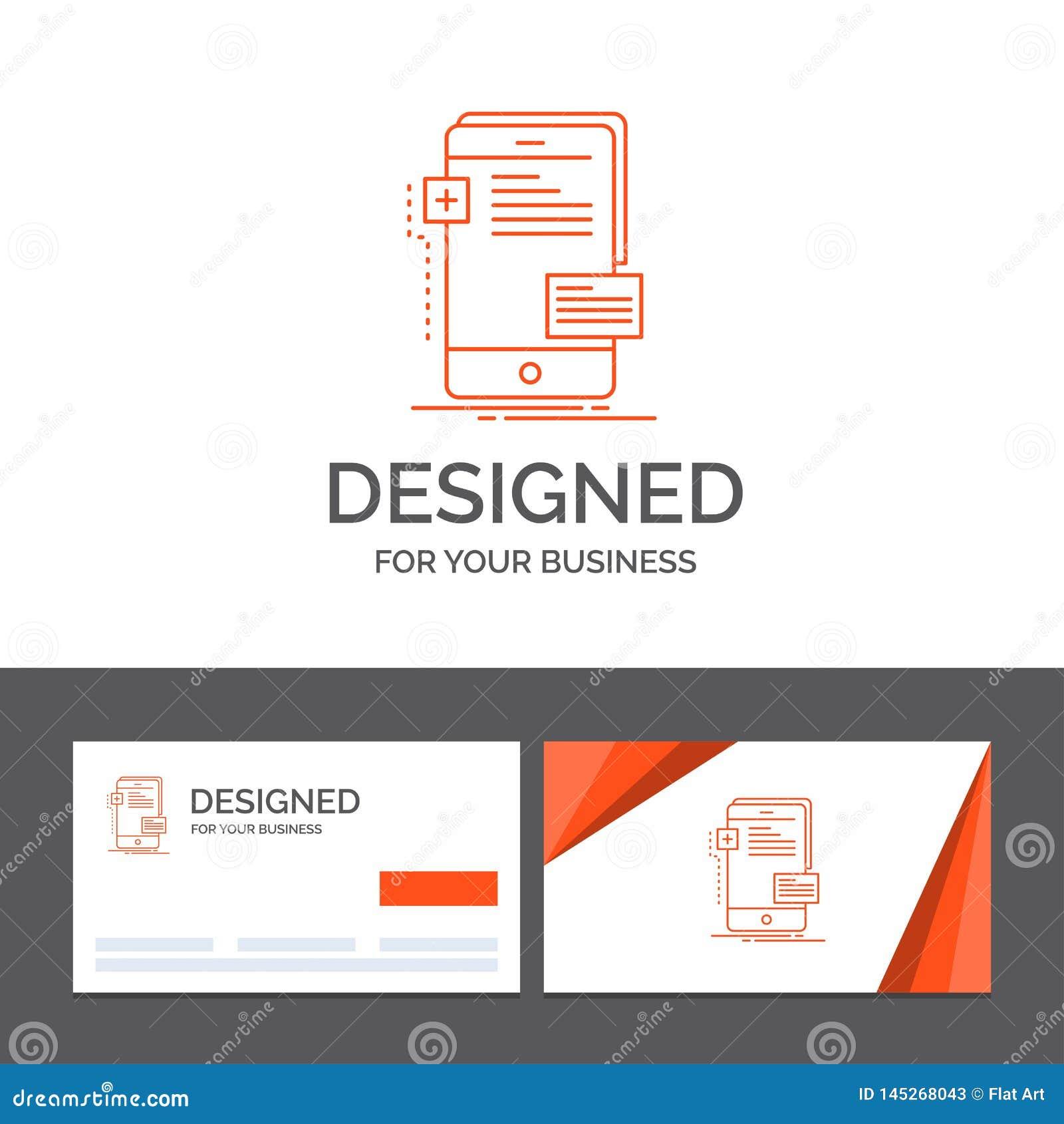 Gesch?ftslogoschablone f?r Vorderseiten, Schnittstelle, Mobile, Telefon, Entwickler Orange Visitenkarten mit Markenlogoschablone