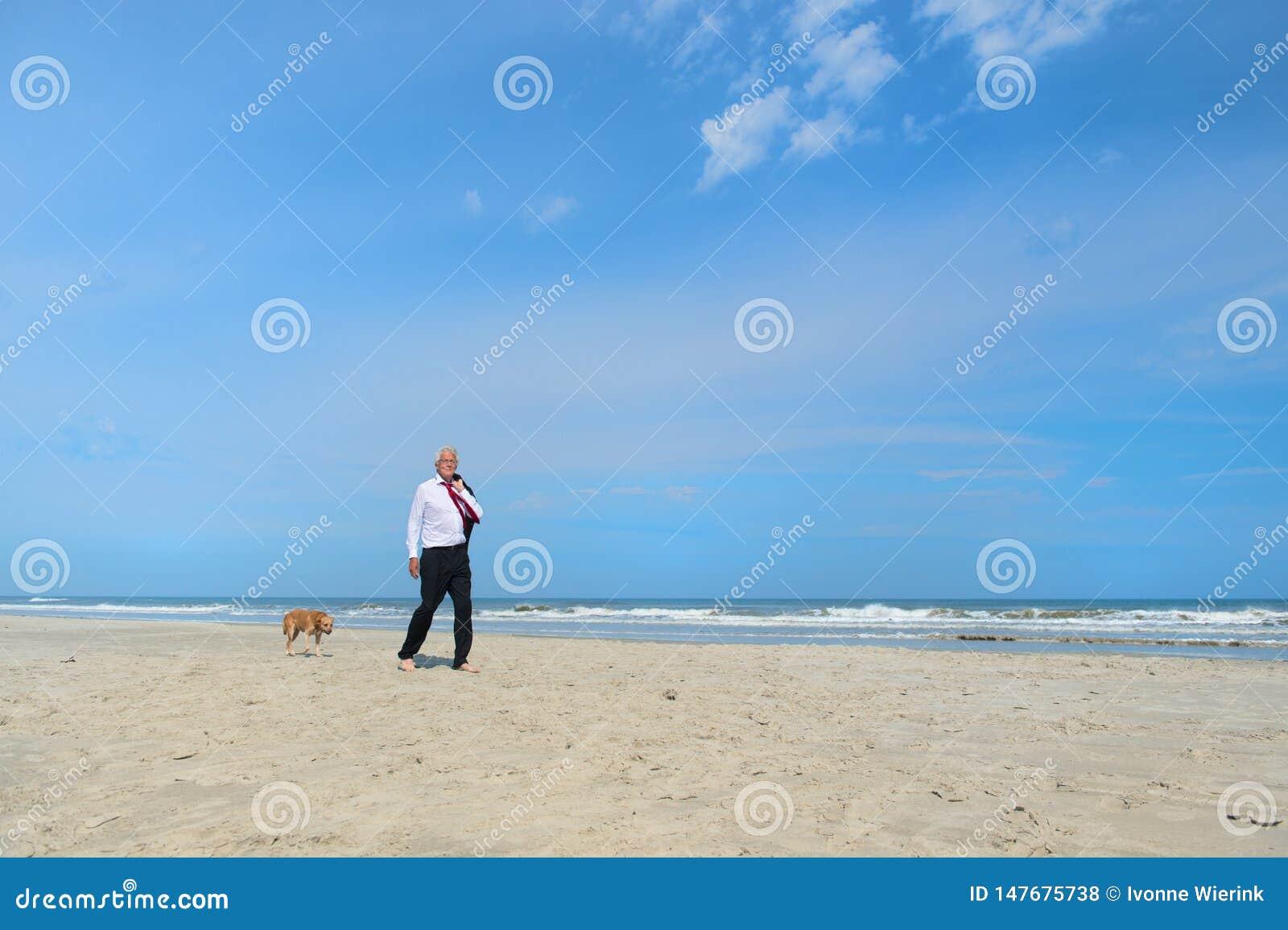 Gesch?ftsmann mit Hund am Strand