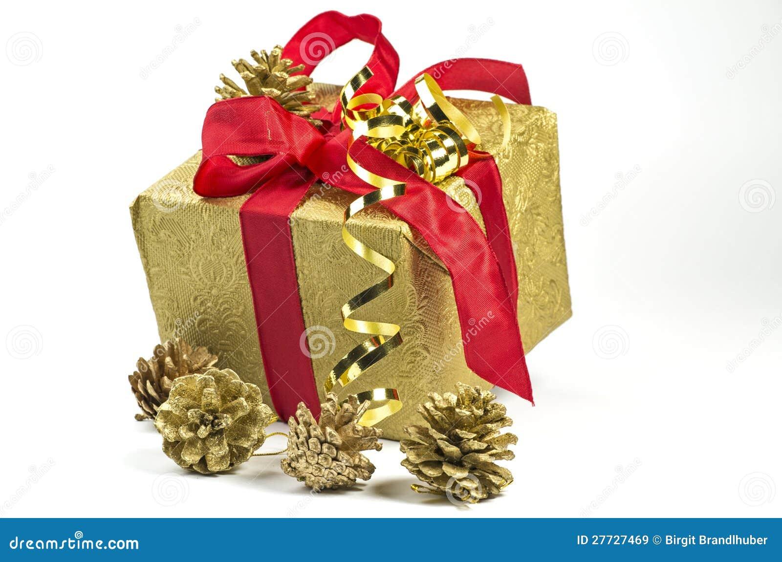 Geschenk im Gold und im Rot