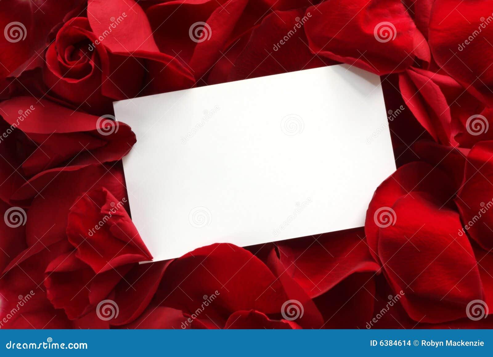 Geschenk-Karte auf roten Rosen-Blumenblättern