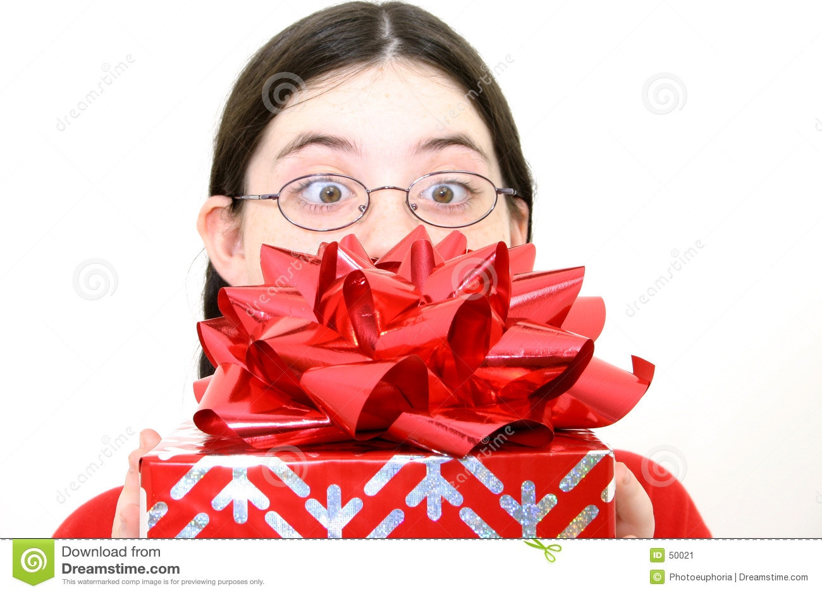 Geschenk mit großem rotem Bogen