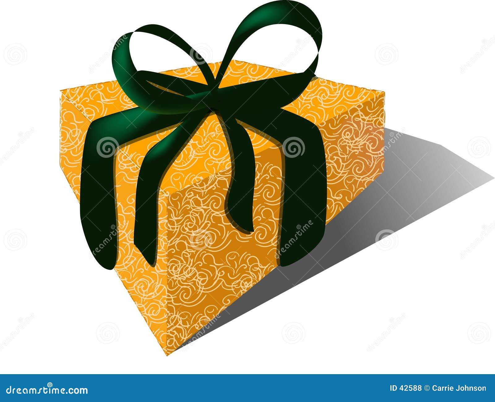 Geschenk mit Samt-Farbband u. Brokat-Verpackung