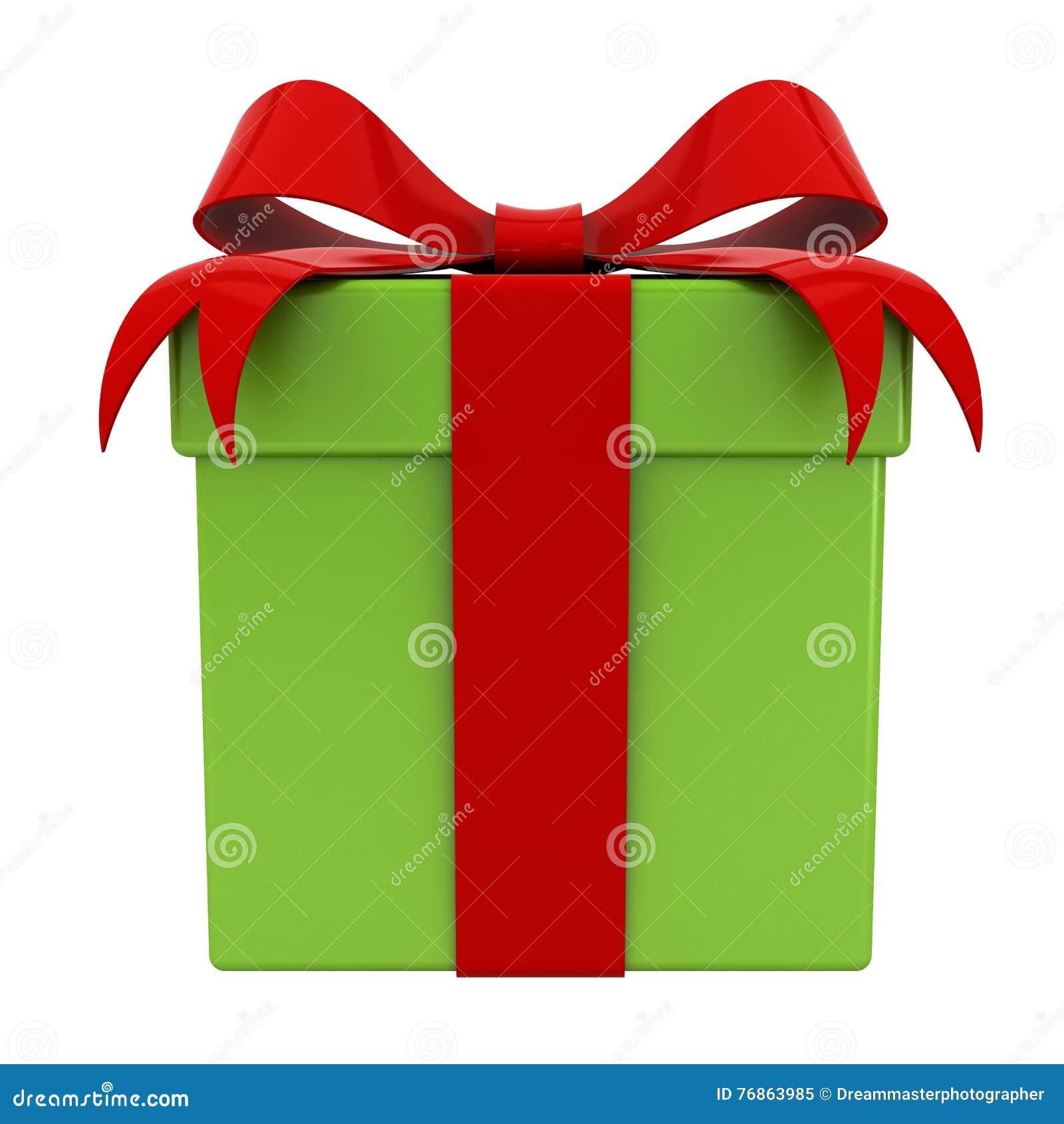 Geschenkbox Weihnachten.Geschenkbox Vorhanden Mit Rotem Bandbogen Auf Dem Grünen Kasten Für