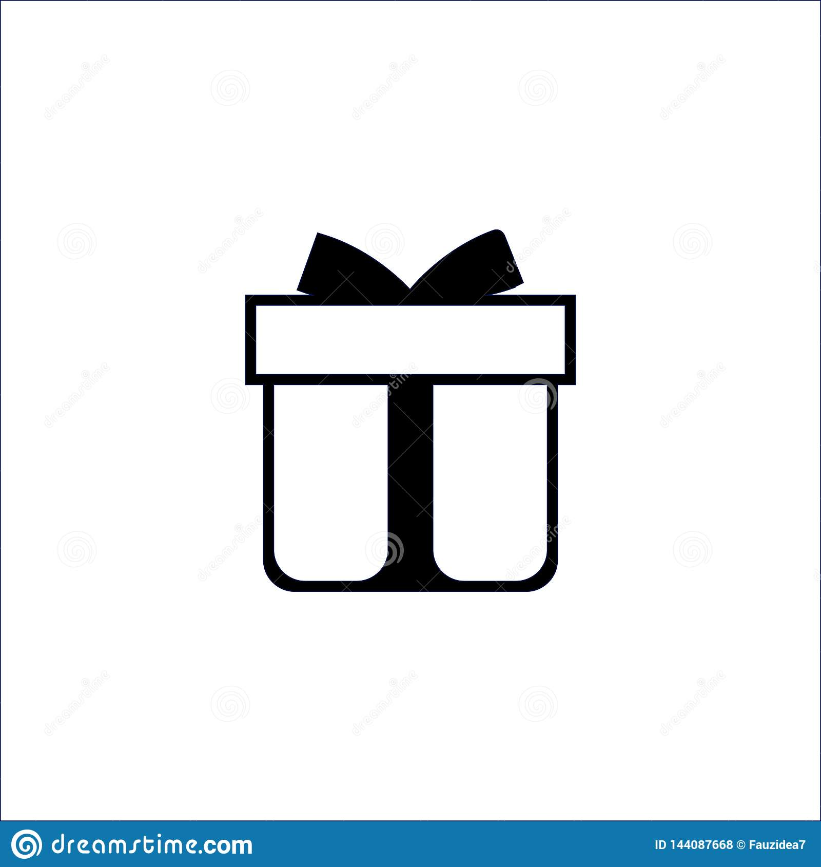 Geschenkboxikone auf wei?em Hintergrund Auch im corel abgehobenen Betrag