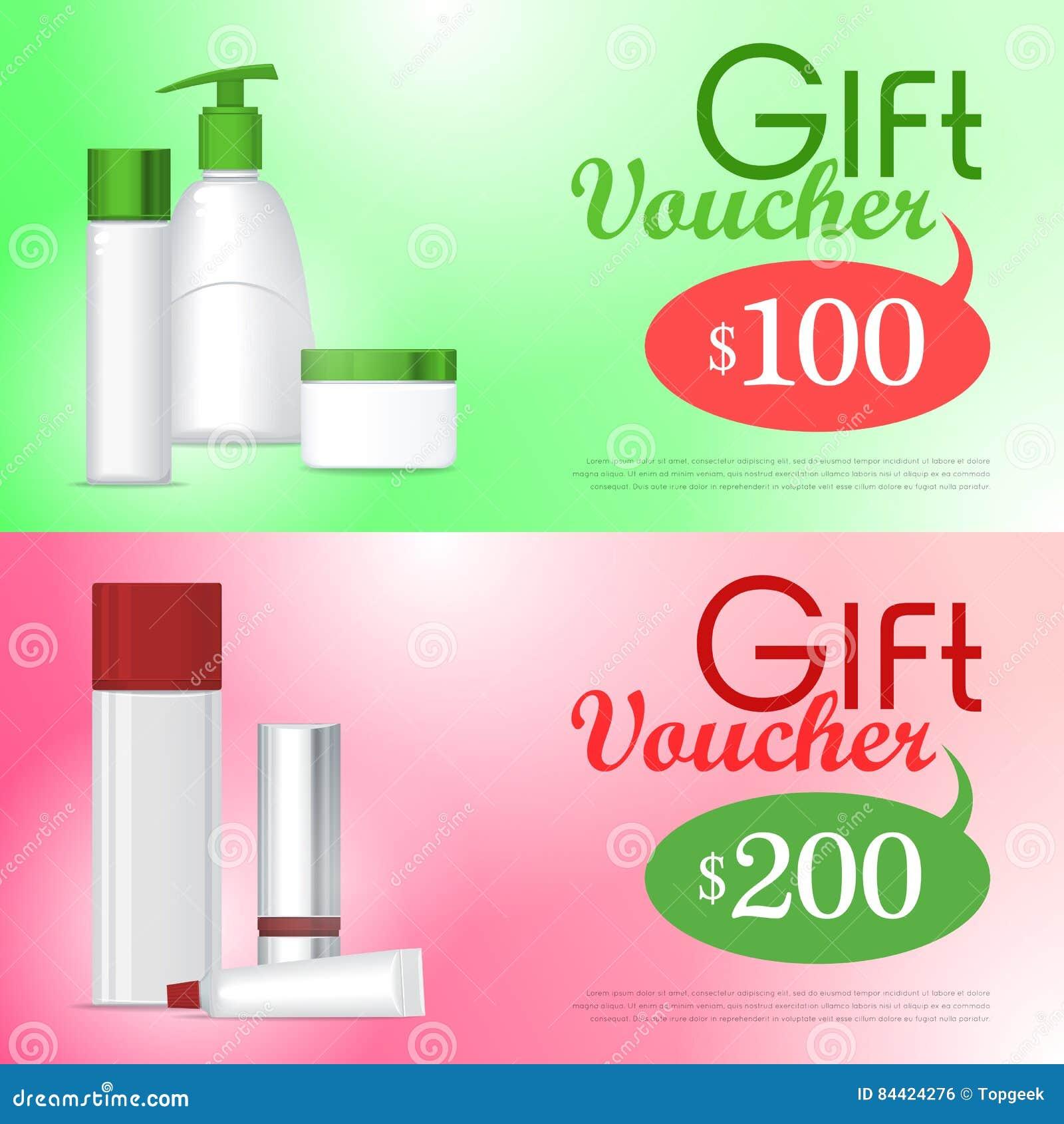 Geschenkgutschein-Kosmetik-Schablone Zertifikat-Kupon Vektor ...