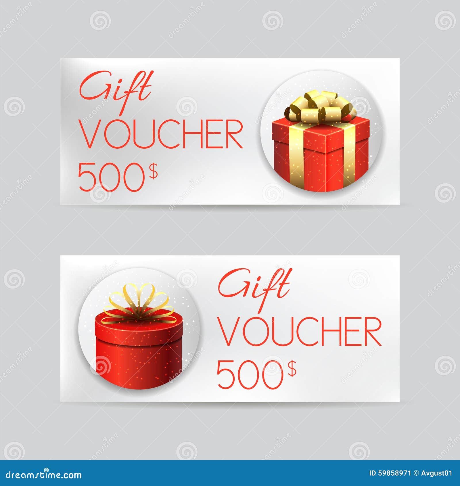 Geschenkgutscheinschablone Mit Weihnachtsgeschenken Vektor Abbildung ...