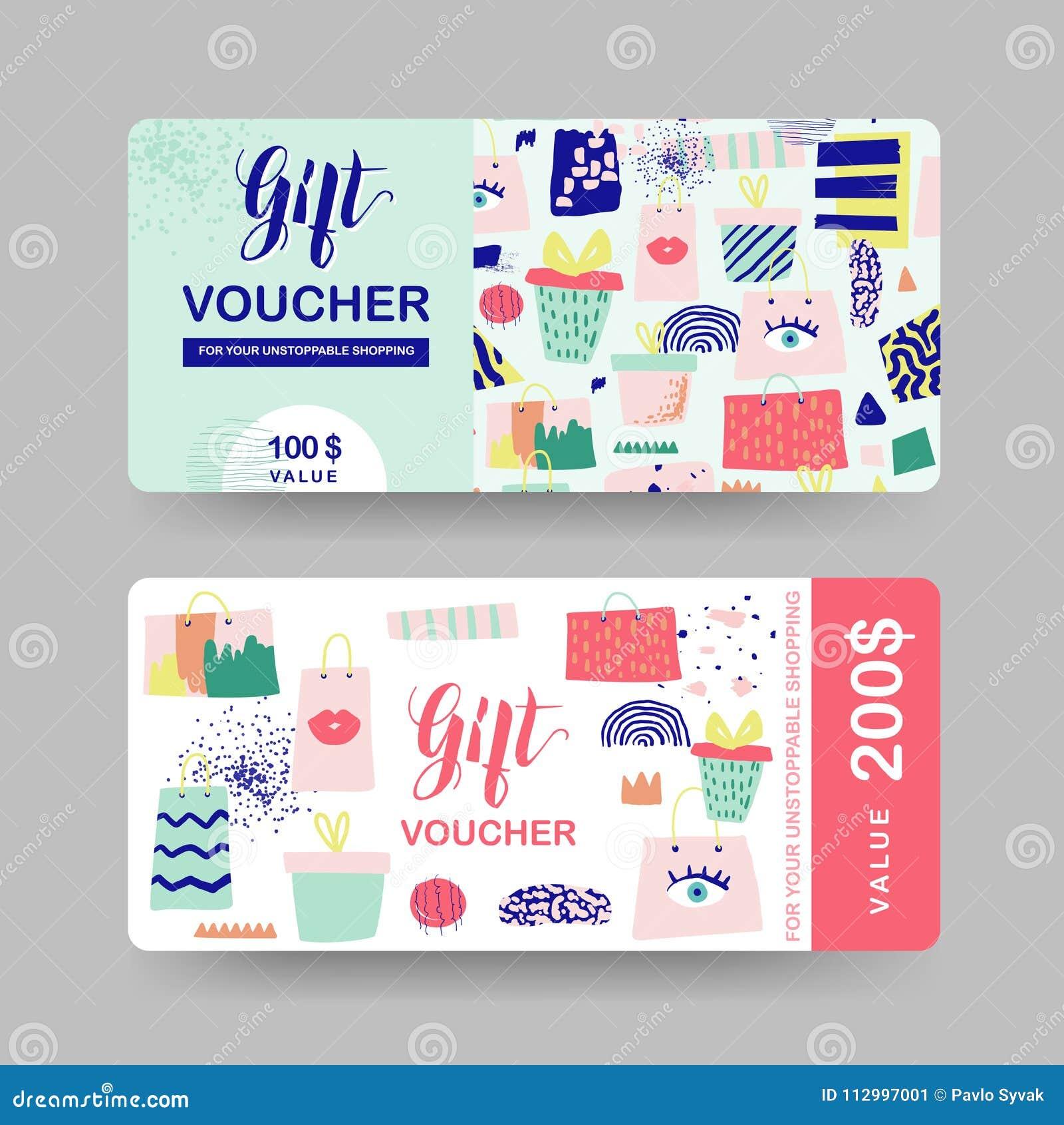 Geschenkgutscheinschablonen Rabatt-Kupon-Zertifikat-Karte mit Einkaufstaschen und Mode-Elementen Verkaufsförderung, Fahne