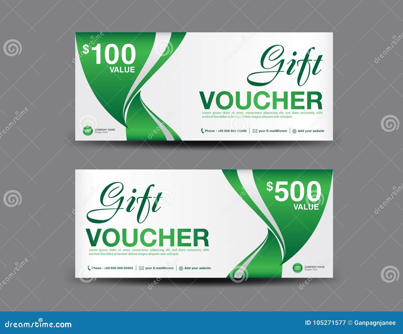 Geschenkgutscheinschablonenplan, Geschäftsfliegerdesign, Dschungelblatthintergrund, grüner Kupon
