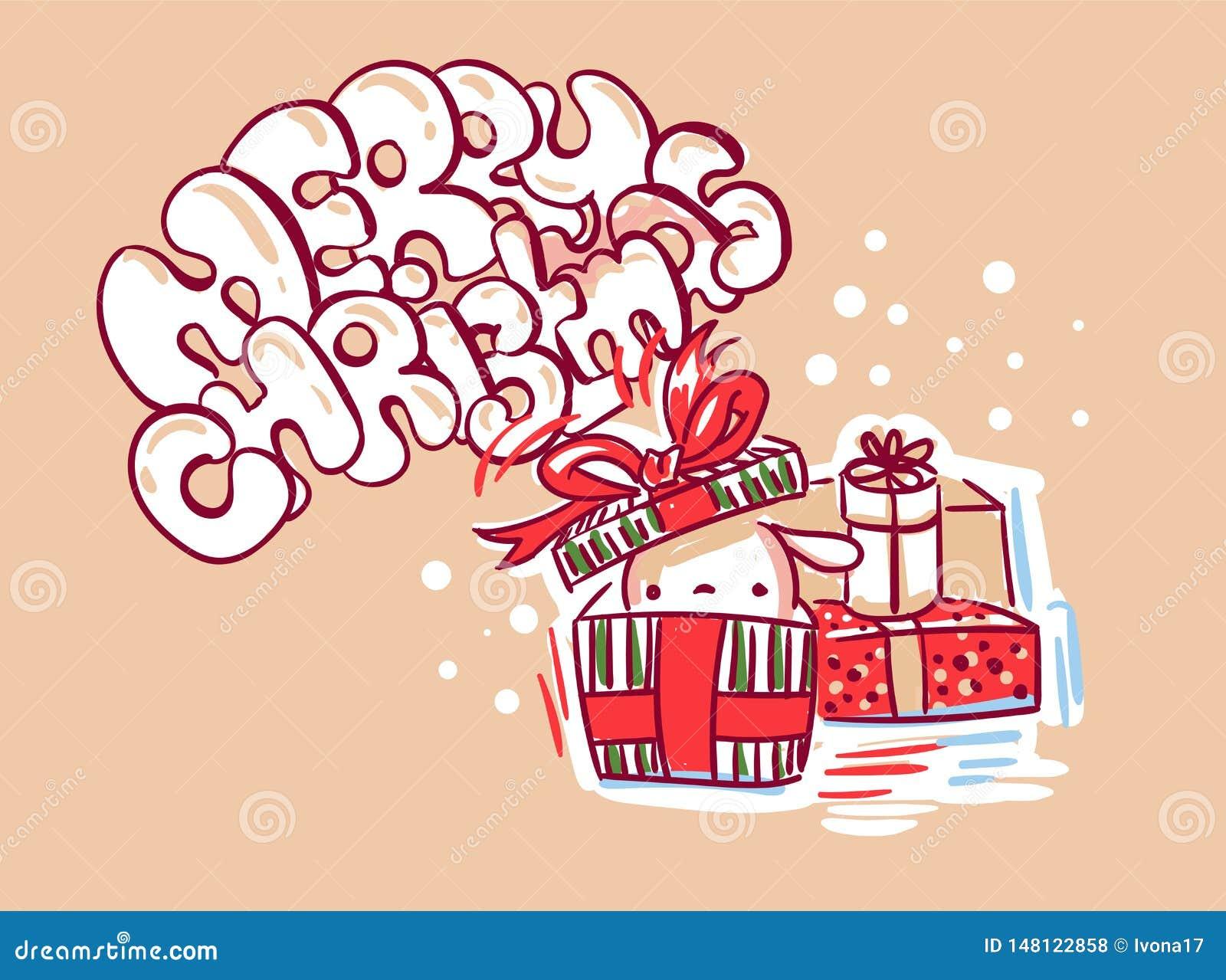 Geschenkhäschen-Weihnachtskarten-Gekritzelart nett