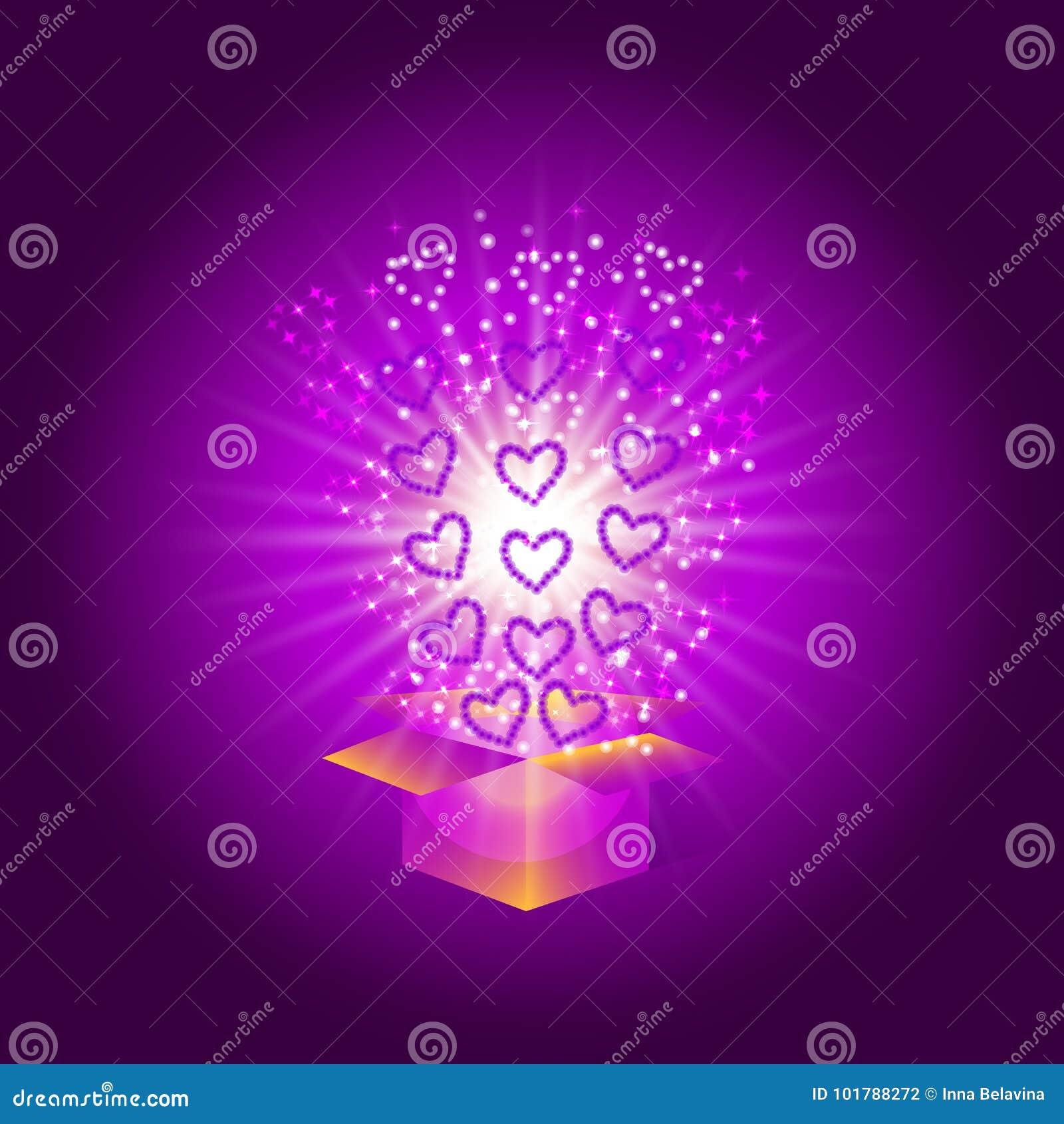Geschenkkasten mit roten Inneren Magischer Hintergrund mit einer Überraschung Erfüllung von Wünschen Illustration in den violette