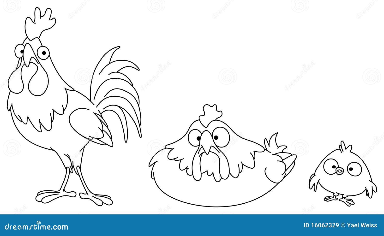 geschetste kippenfamilie vector illustratie illustratie